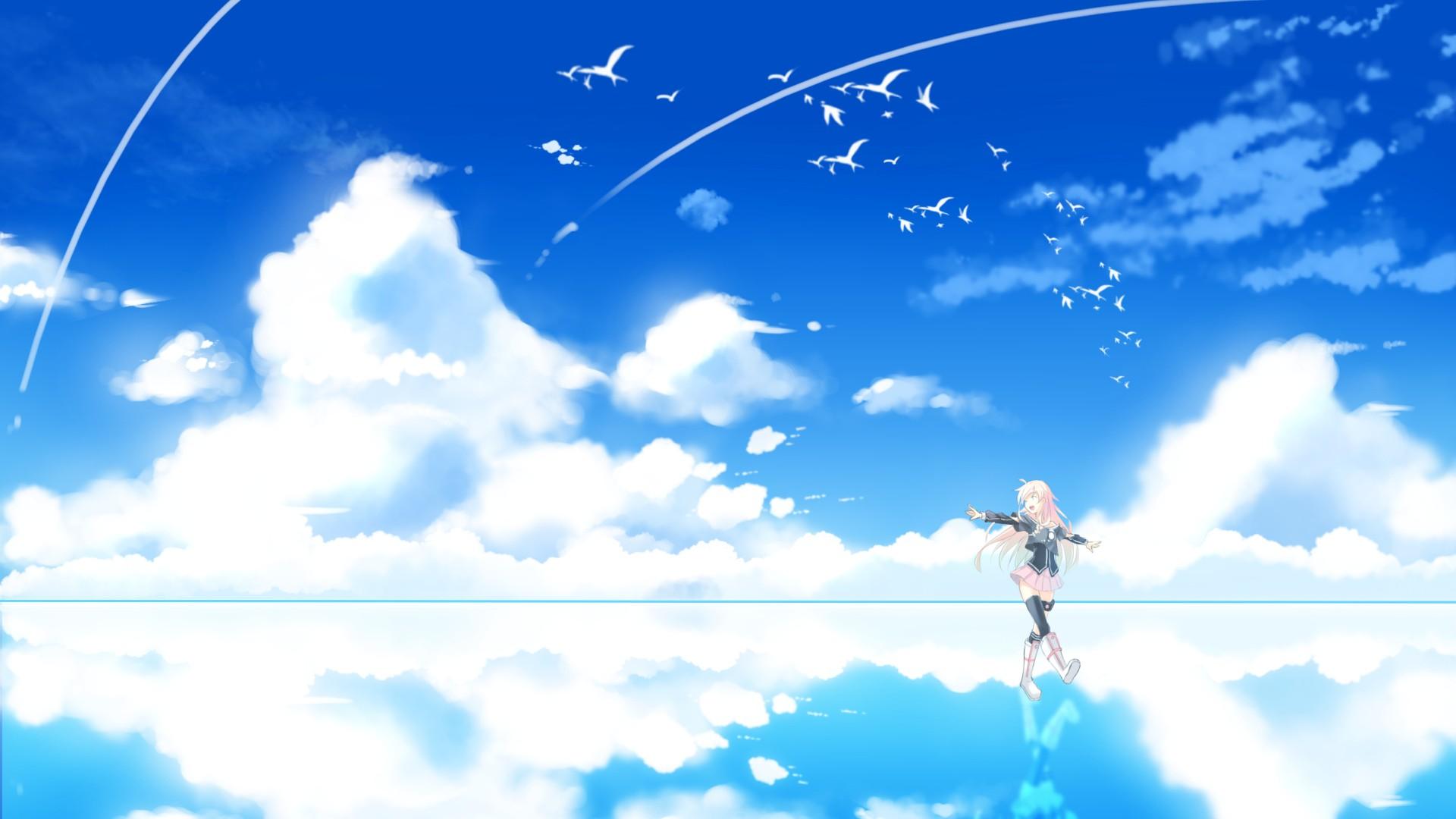 Аниме картинки на фоне неба