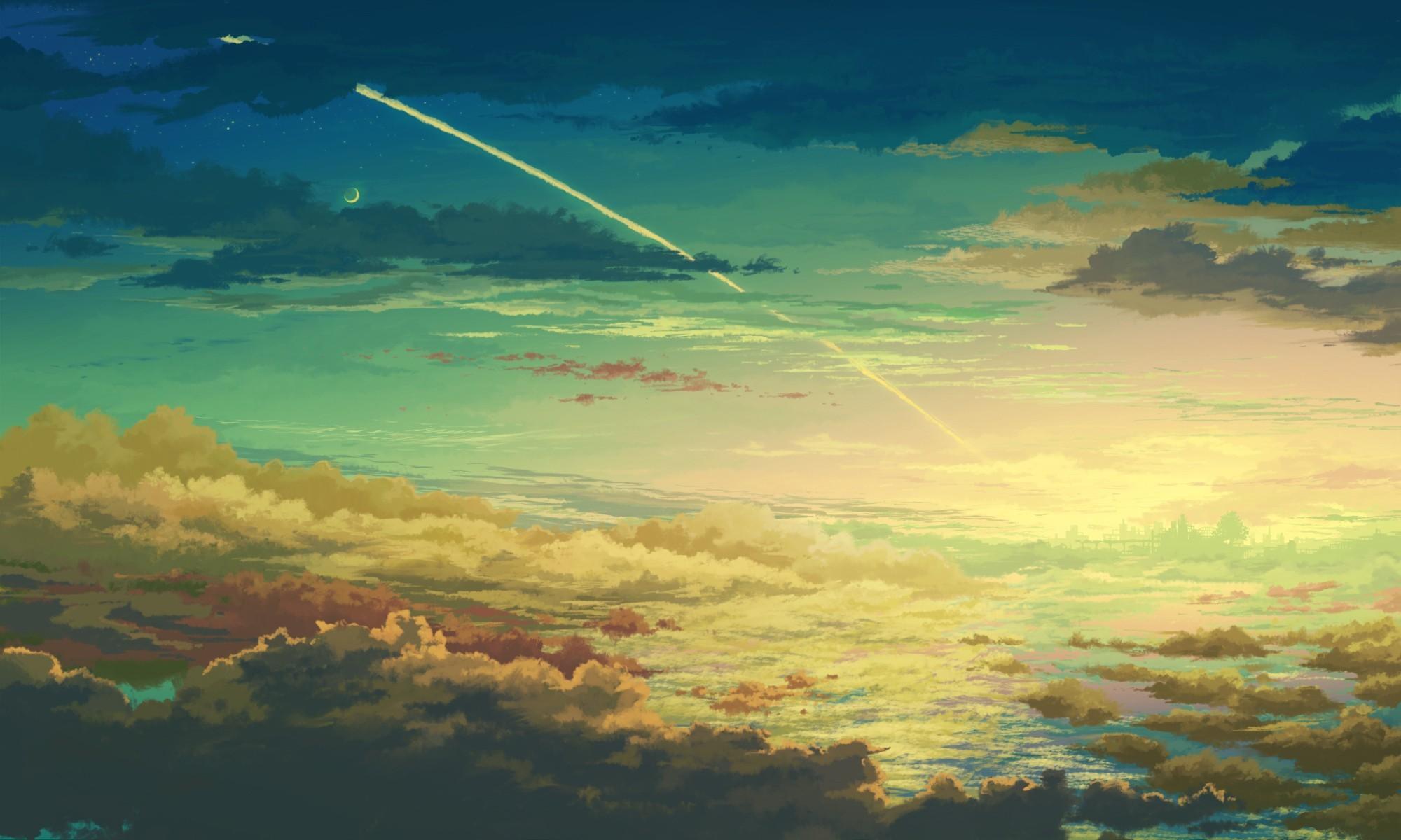 Wallpaper : sunlight, anime, space, sky, artwork, clouds