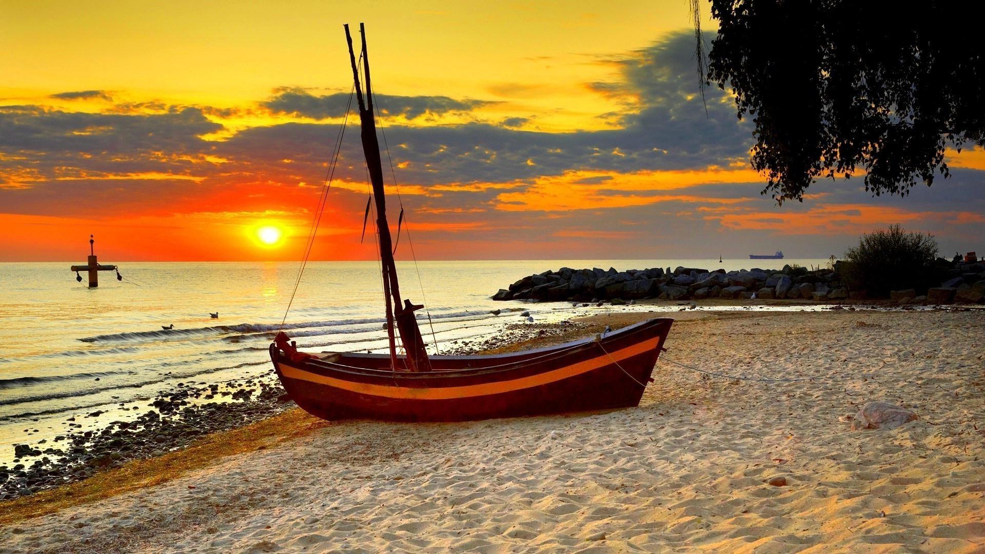 Wallpaper : sunlight, boat, sunset, sea, bay, nature ...