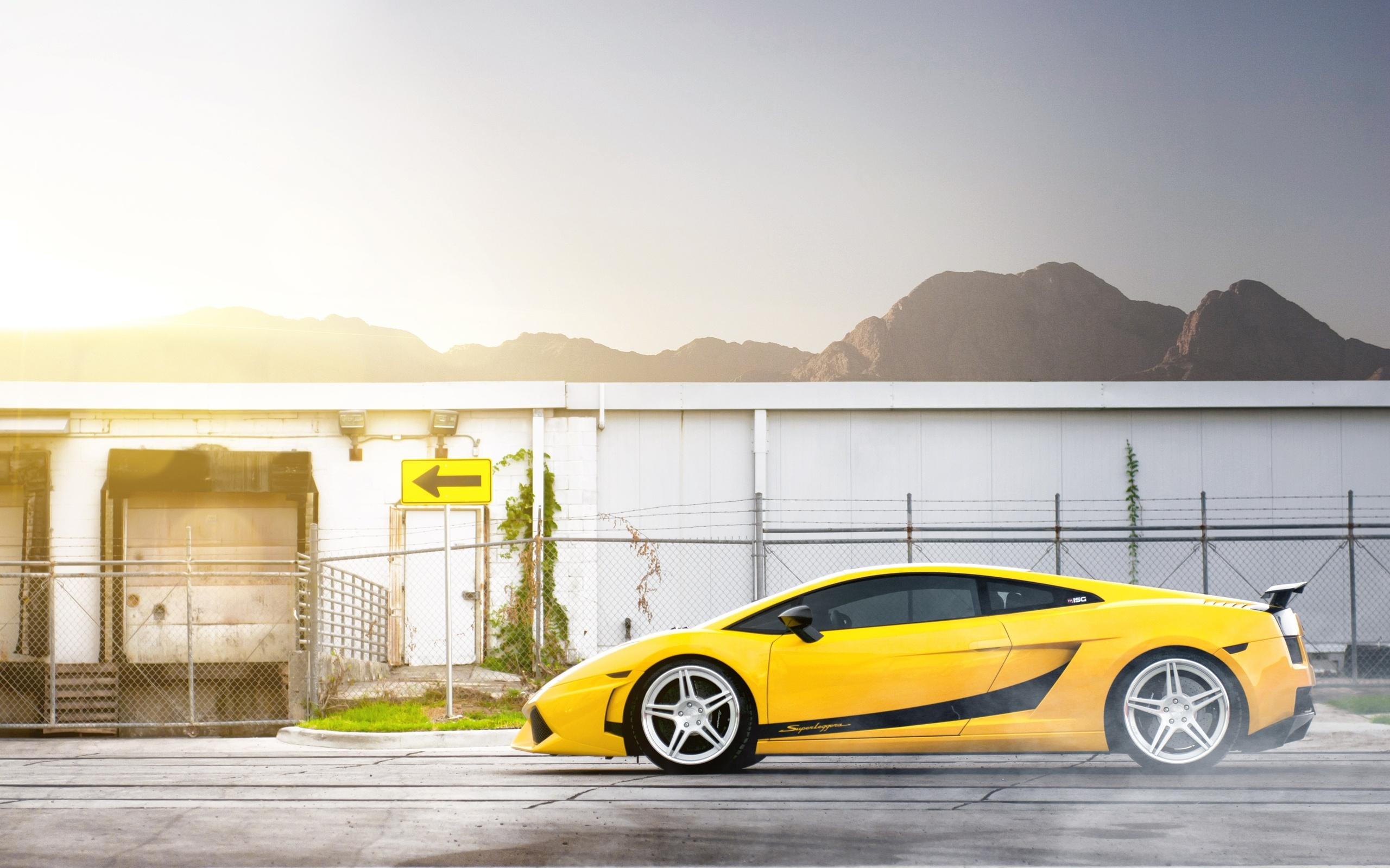 Wallpaper Sunlight Sign Lamborghini Gallardo Sports Car Yellow