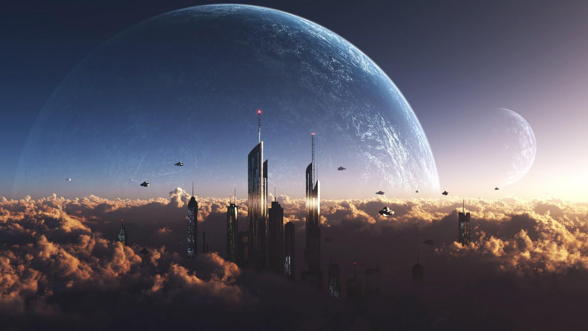Wallpaper Sunlight City Planet Space Sky Moon