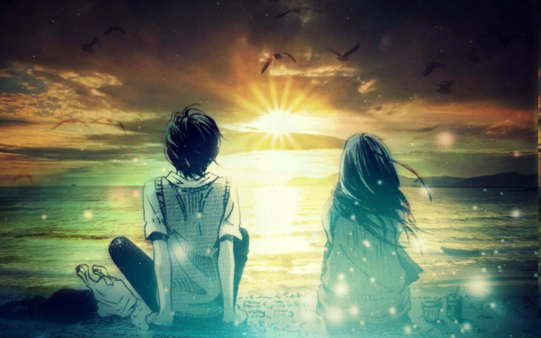 wallpaper : sunlight, digital art, fantasy art, sunset, sea, anime