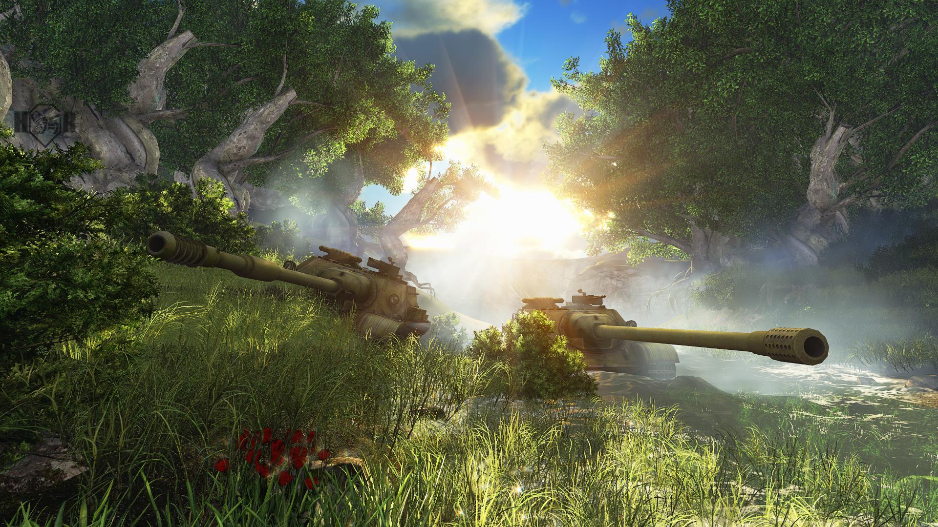 Wallpaper Sunlight Forest Jungle World Of Tanks Su 122 54