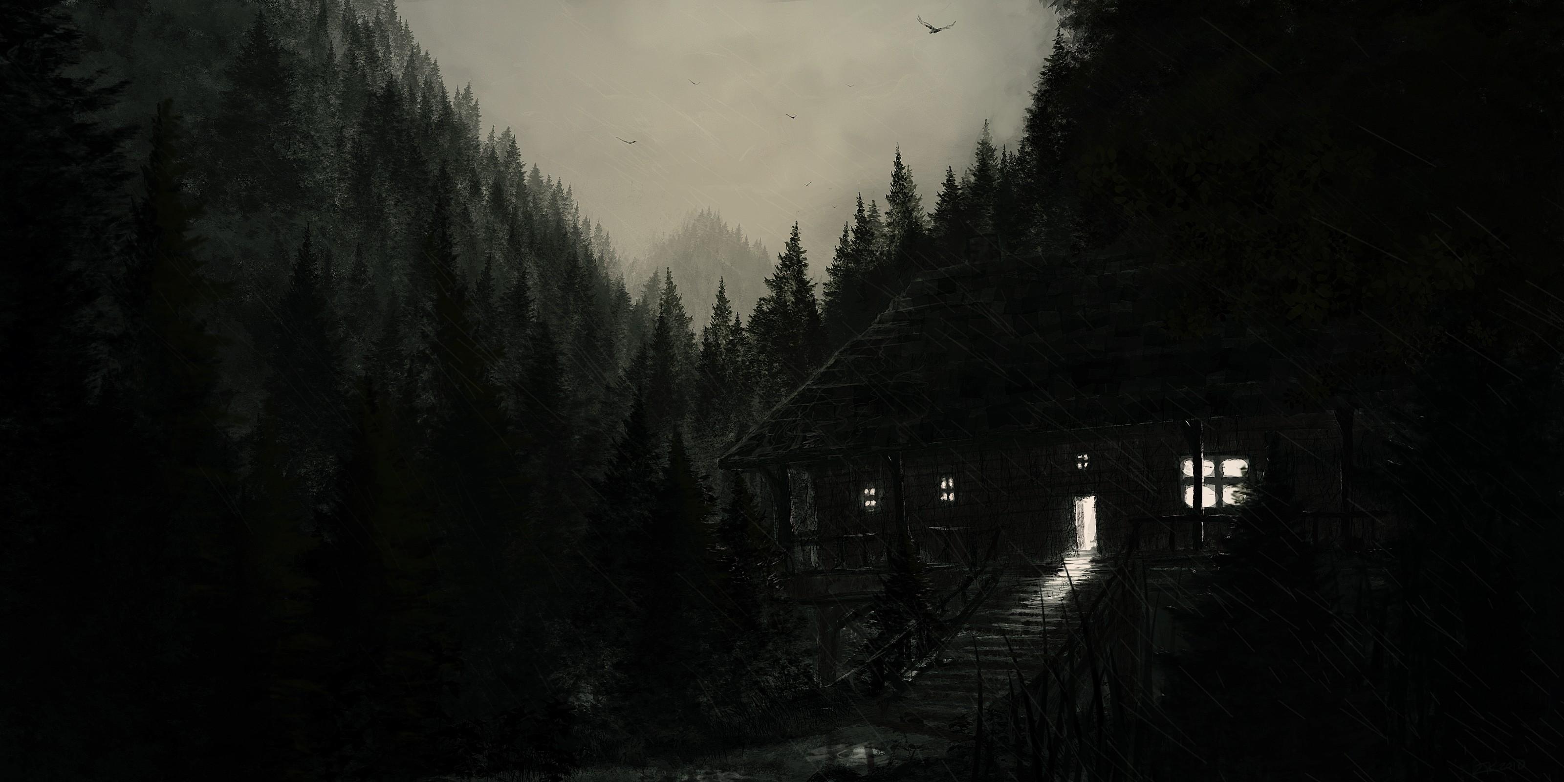 Fantastic Wallpaper Mountain Rain - sunlight-forest-mountains-digital-art-monochrome-night-snow-winter-rain-morning-mist-atmosphere-Antichristofer-light-tree-fog-weather-darkness-atmospheric-phenomenon-3200x1600-px-568122  You Should Have_30991.jpg