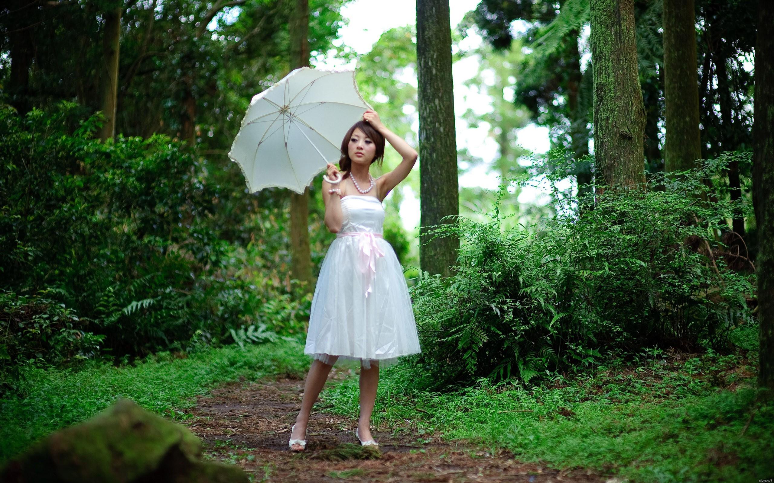 Sunlight forest women outdoors women asian white dress photography umbrella dress green jungle clothing tree flower