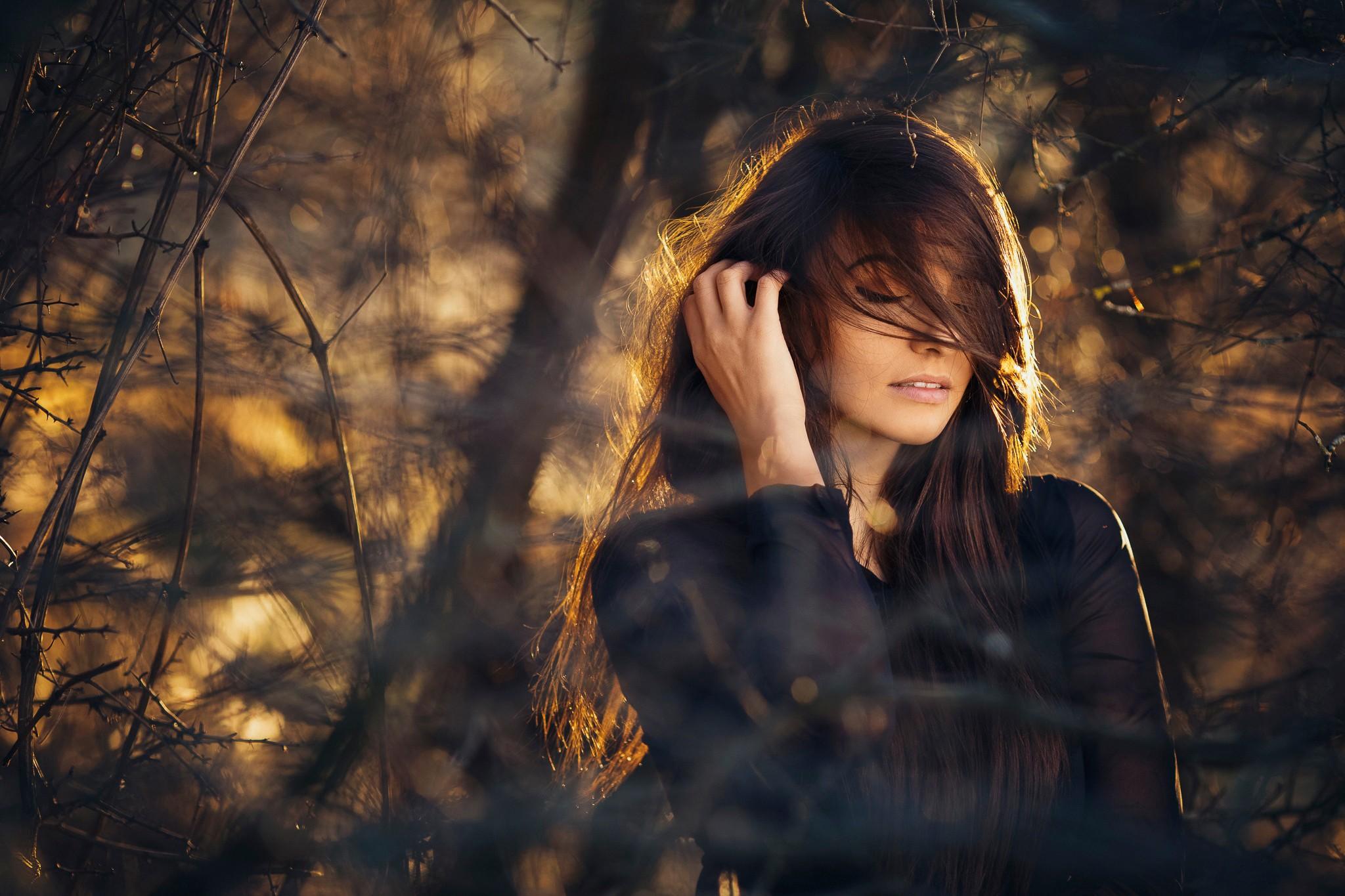 women, Brunette, Model, Long hair, Nature, Field, Women