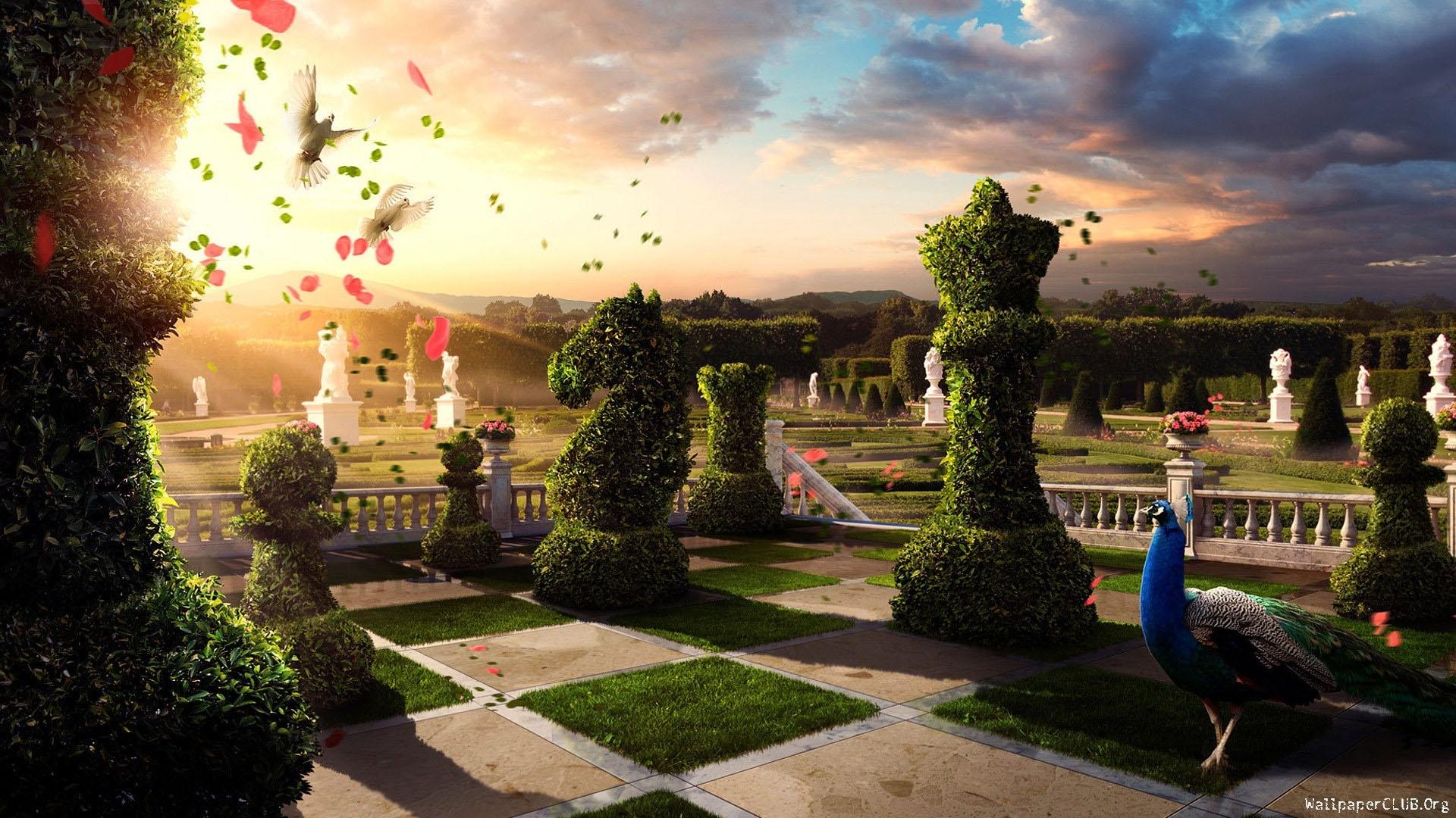Sunlight Garden Chess Palace Estate Flower Mansion 1920x1080 Px Courtyard