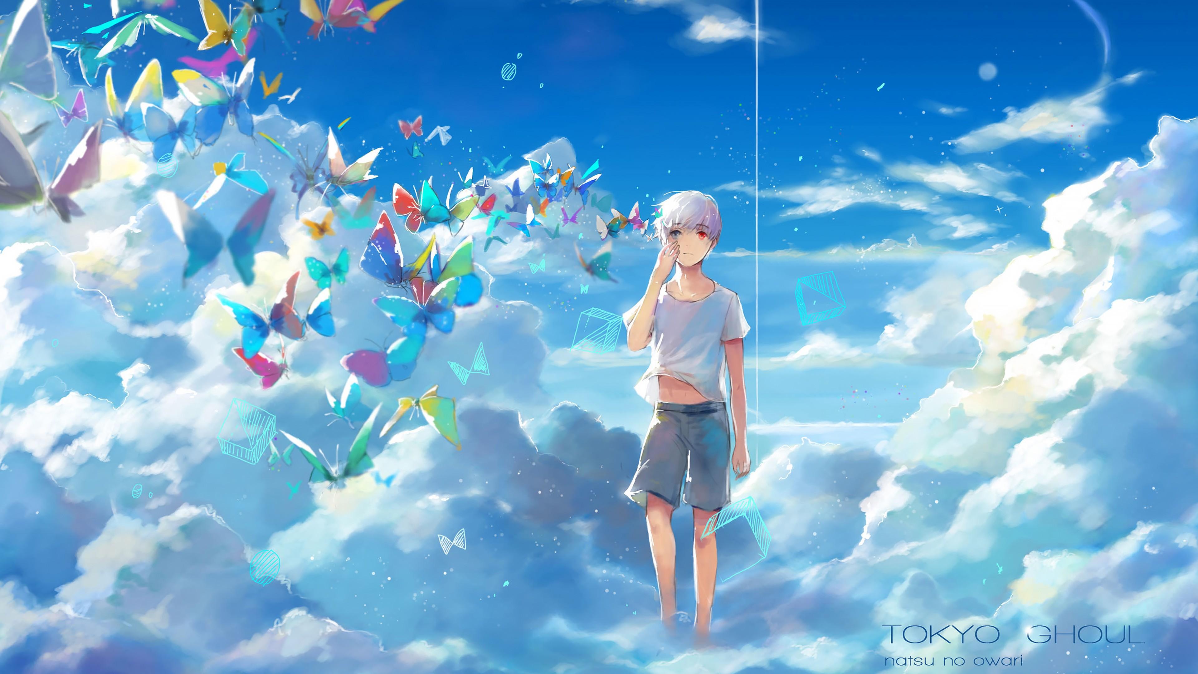 Sunlight Illustration Anime Boys Sky Clouds Butterfly Blue Heterochromia Kaneki Ken Tokyo Ghoul Cloud Screenshot