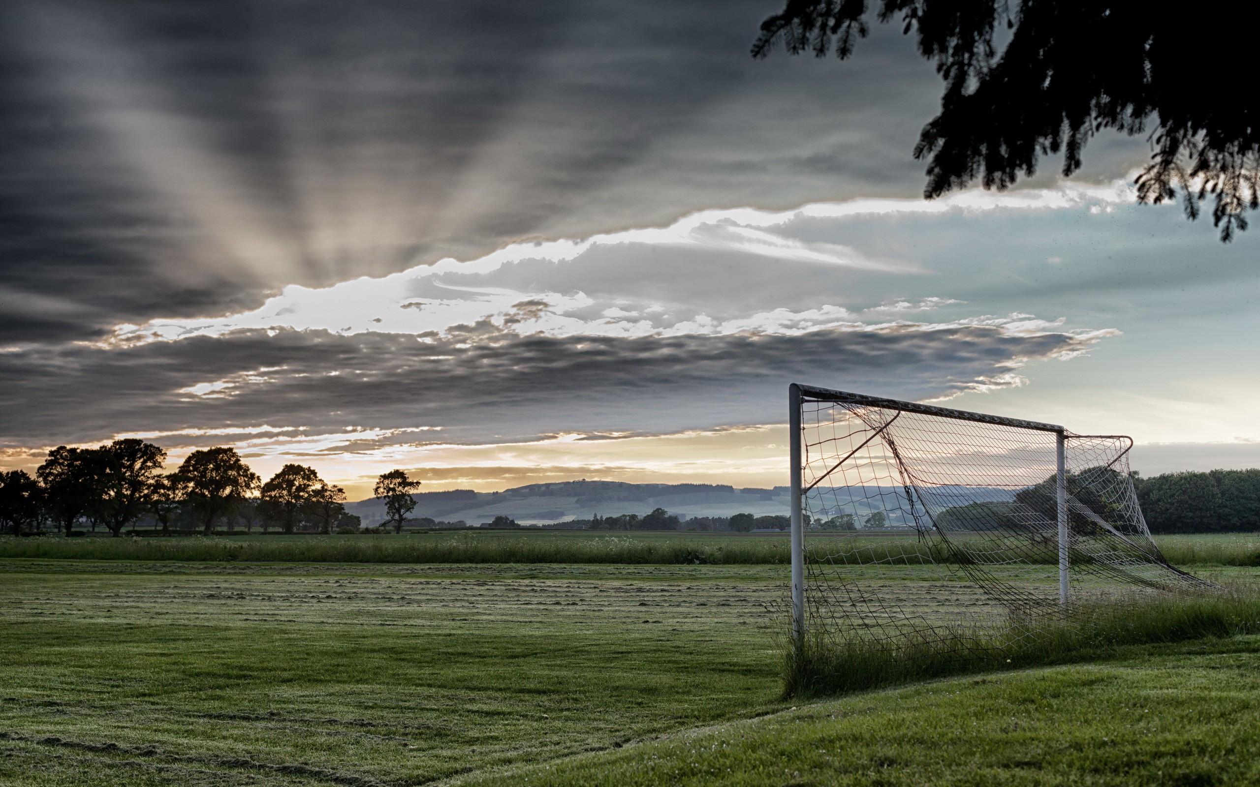 grass soccer field with goal. Wallpaper : Sunlight, Landscape, Goal, Sunset, Hill, Nature, Grass, Sky, Field, Clouds, Sunrise, Evening, Morning, Wind, Horizon, Soccer Pitches, Light, Grass Field With Goal