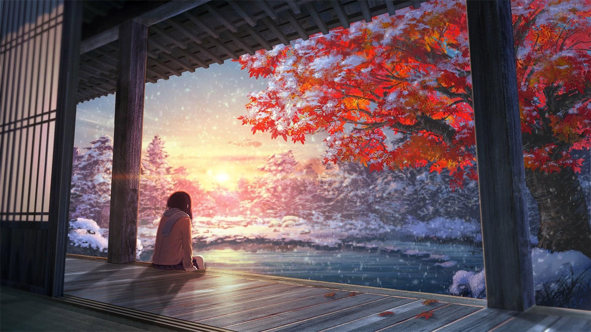 Fondos de pantalla luz de sol paisaje anime rojo for Esteban paredes wallpaper hd