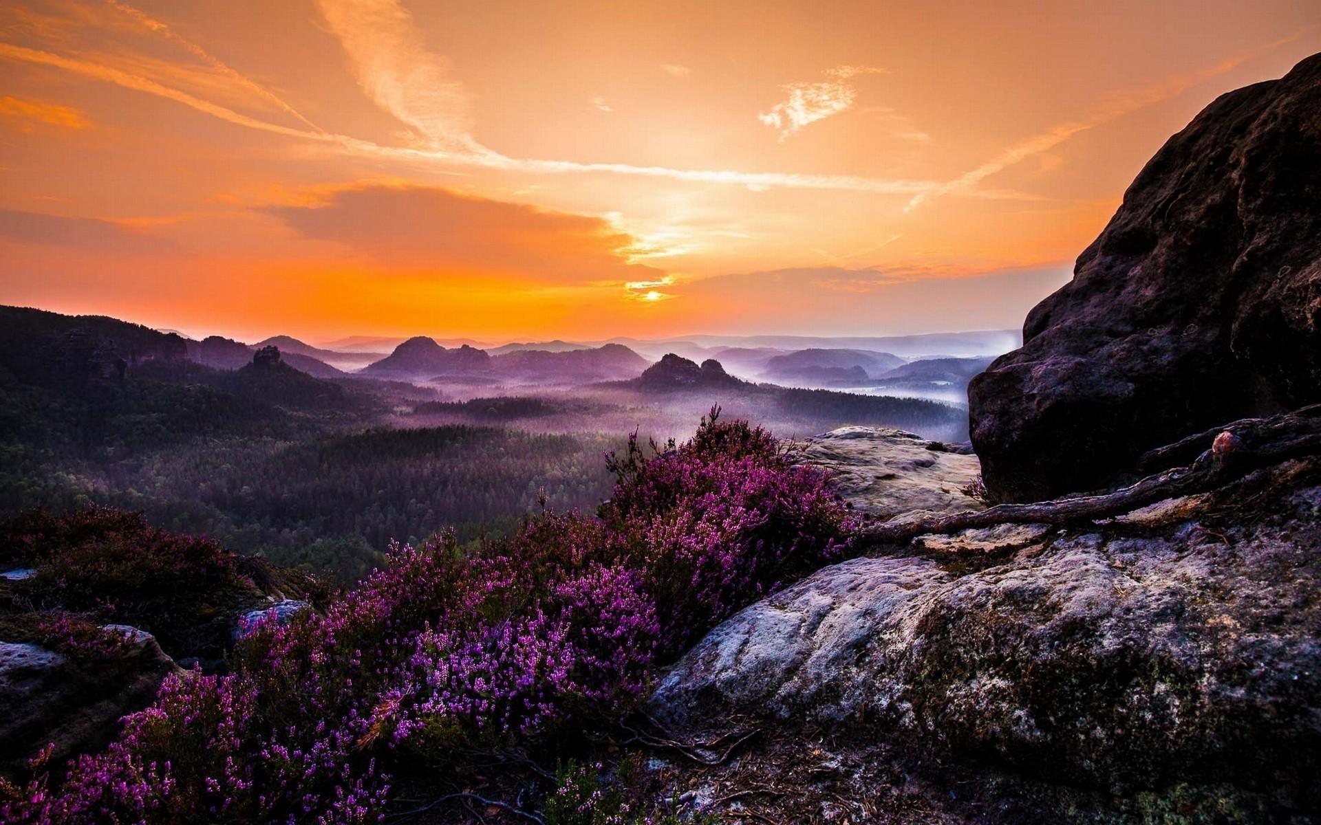 природа горы закат картинки