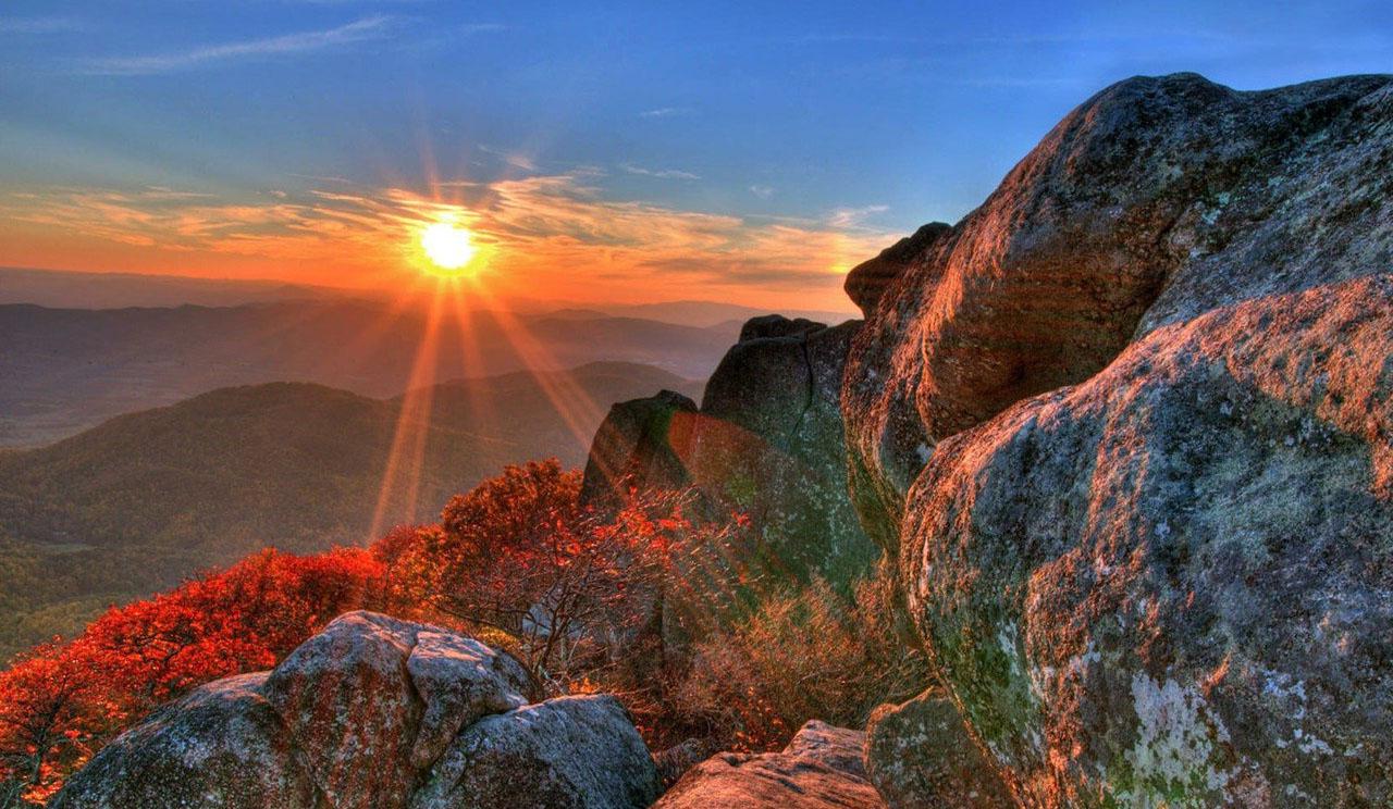 Fond d 39 cran lumi re du soleil paysage colline roche for Papier peint pour ordinateur
