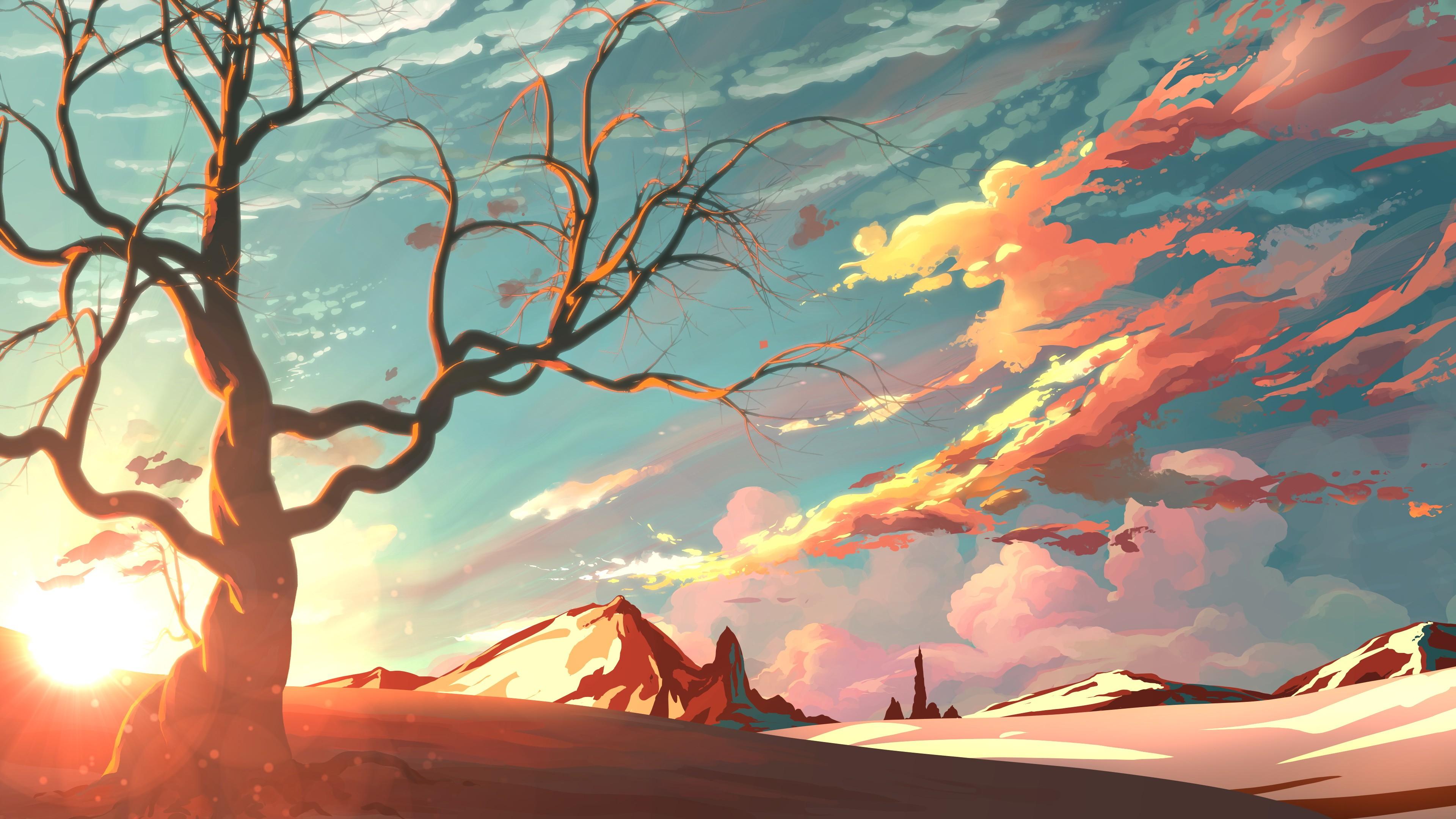 Wallpaper Sinar Matahari Pemandangan Ilustrasi Pegunungan
