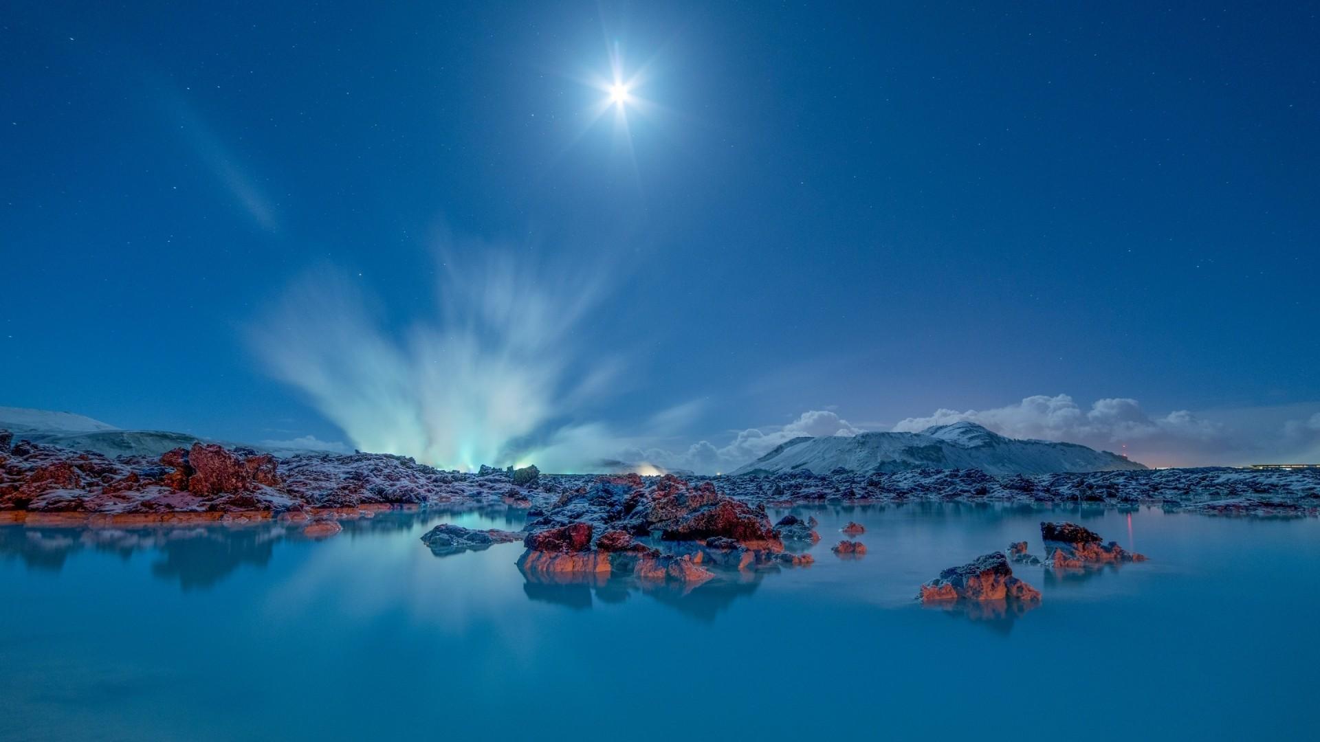 Hintergrundbilder Sonnenlicht Landschaft Berge Meer Nacht