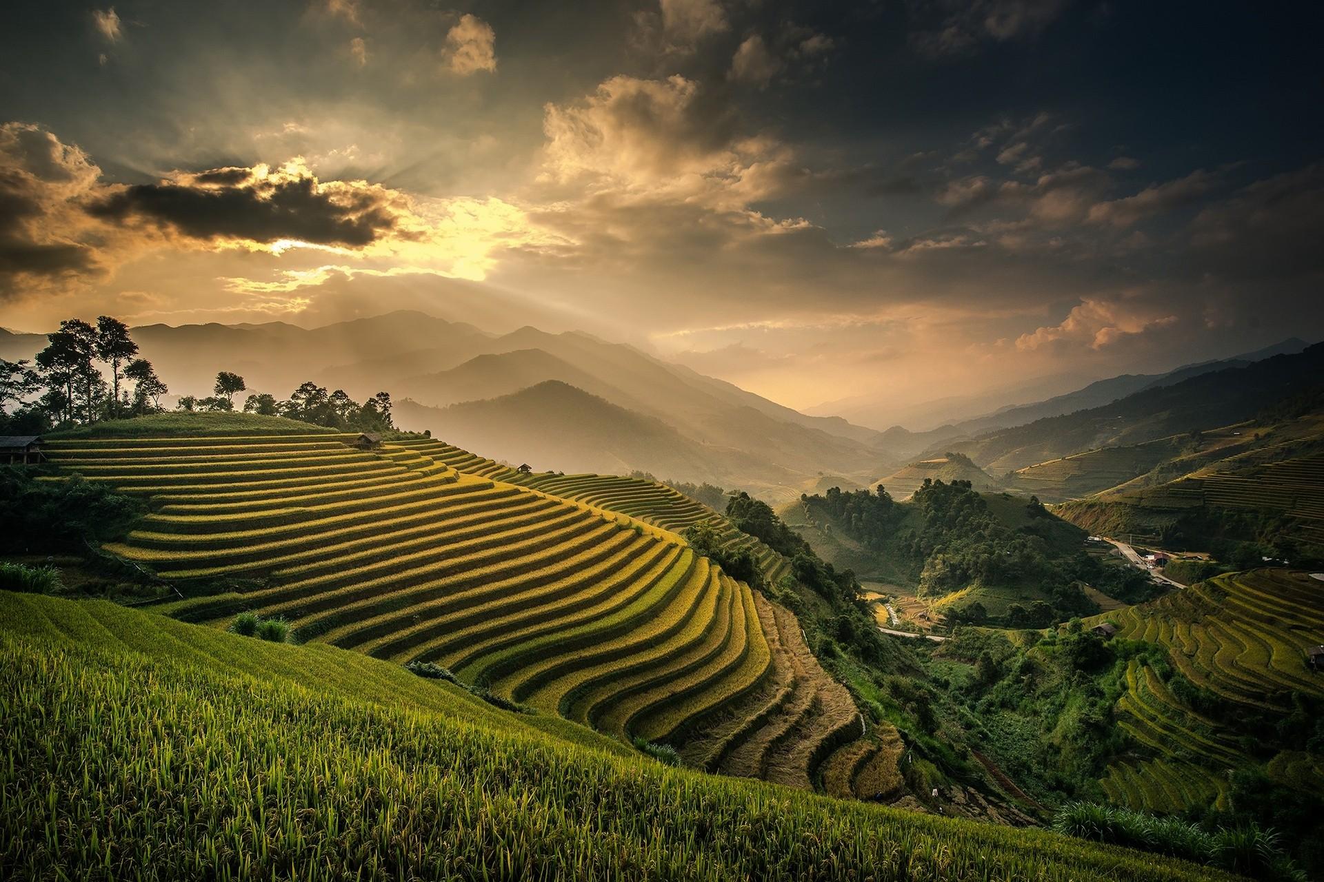 wallpaper sunlight landscape mountains sunset hill