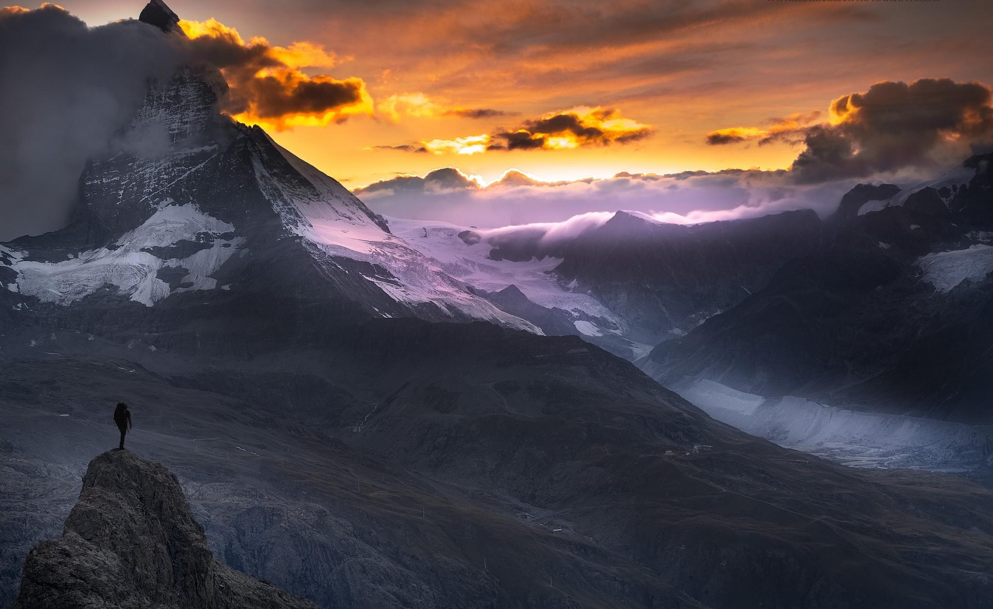 Fond d 39 cran lumi re du soleil paysage montagnes le coucher du soleil la nature r flexion - Photo coucher de soleil montagne ...