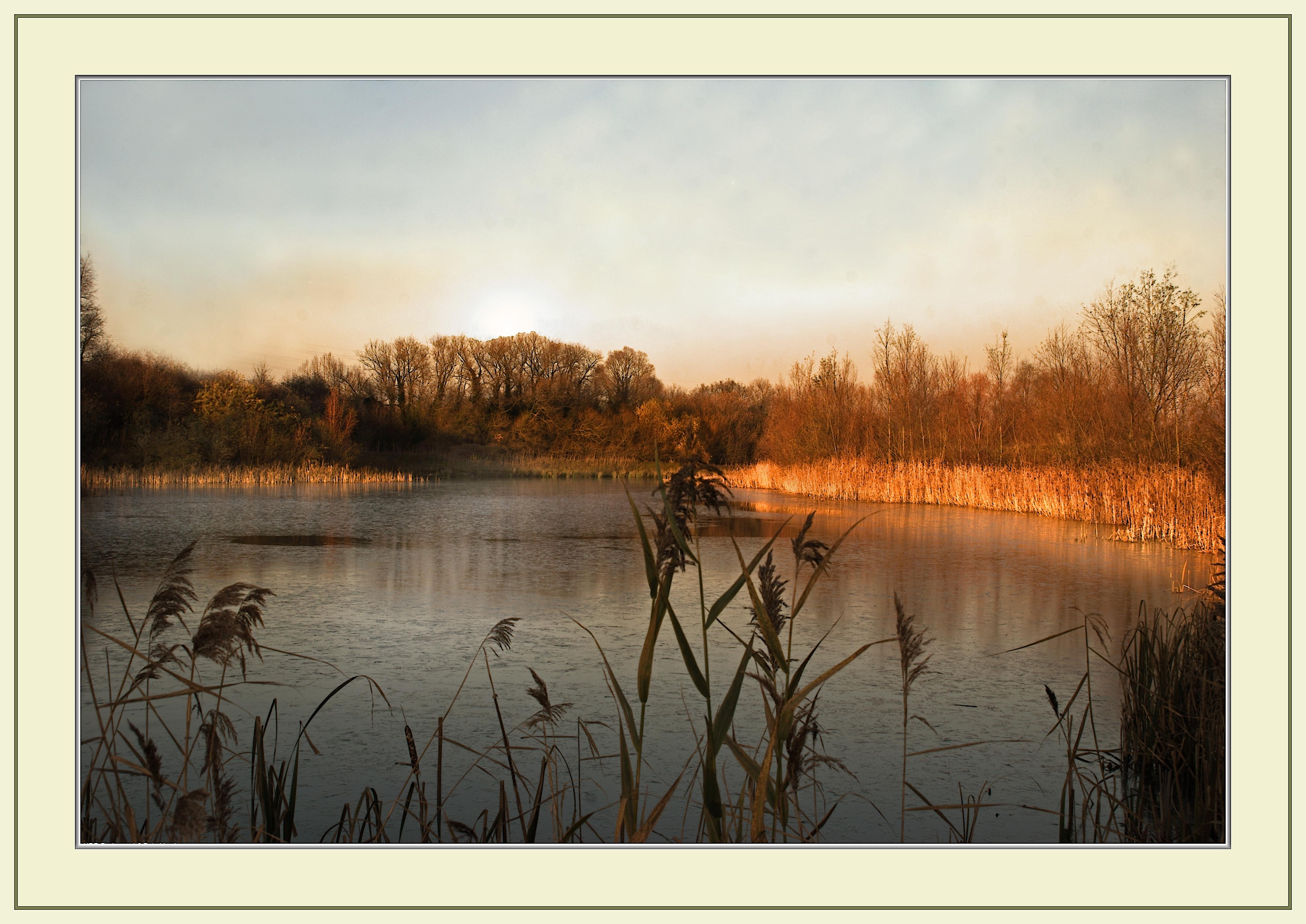 Masaüstü Güneş ışığı Manzara Boyama Göl Su Doğa