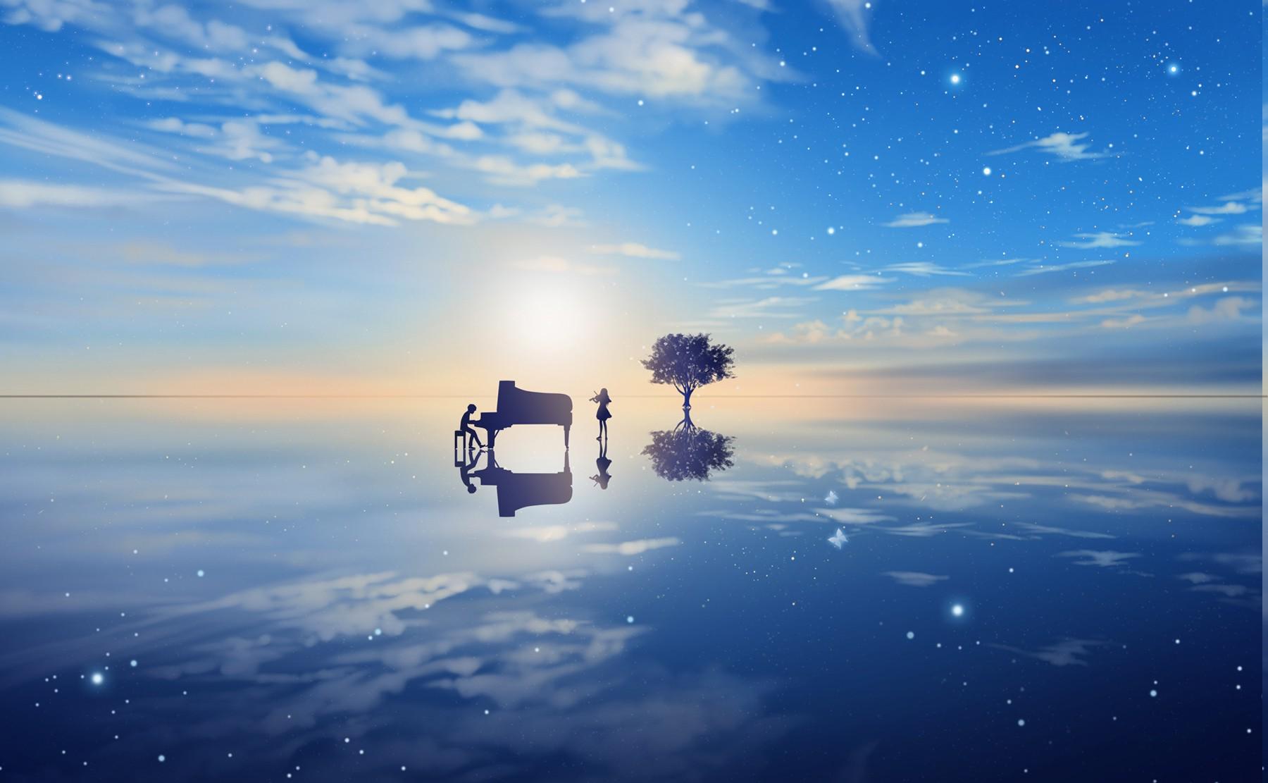 Wallpaper Sunlight Landscape Sea Anime Water