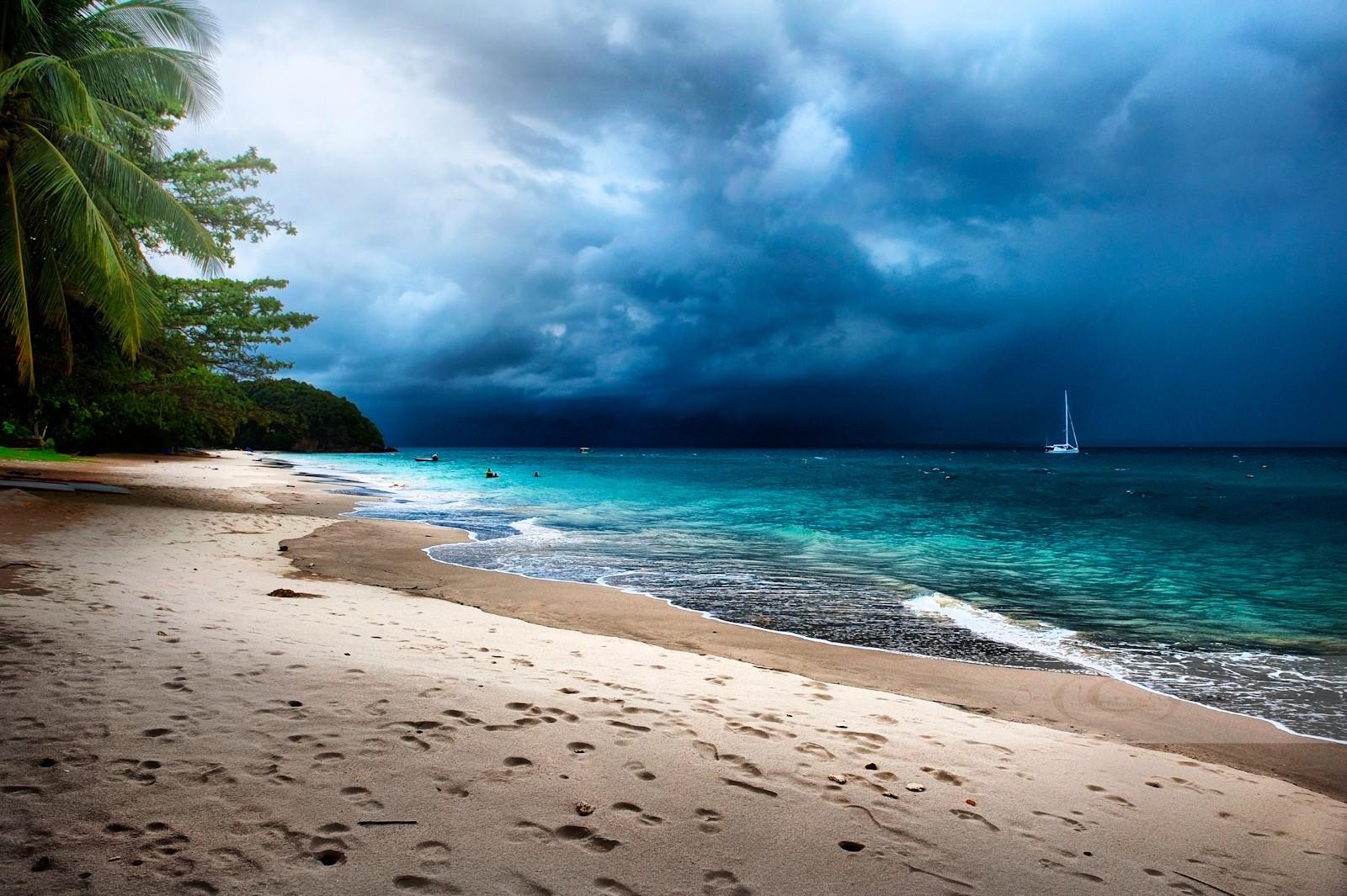 Beach Sand Clouds Sea Caribbean Water Peaceful