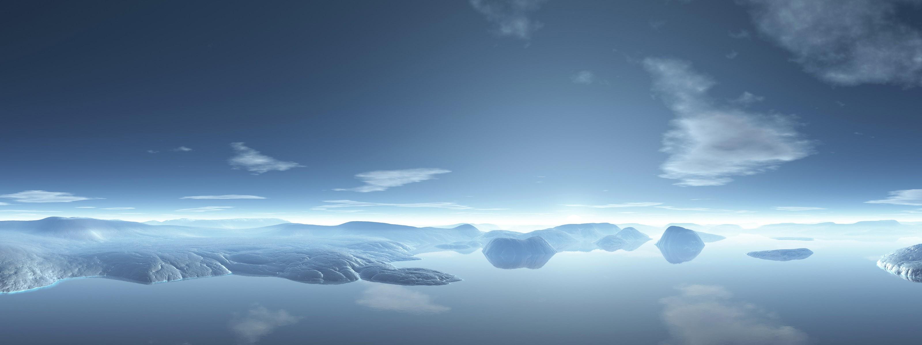 デスクトップ壁紙 日光 風景 空 地平線 マルチディスプレイ