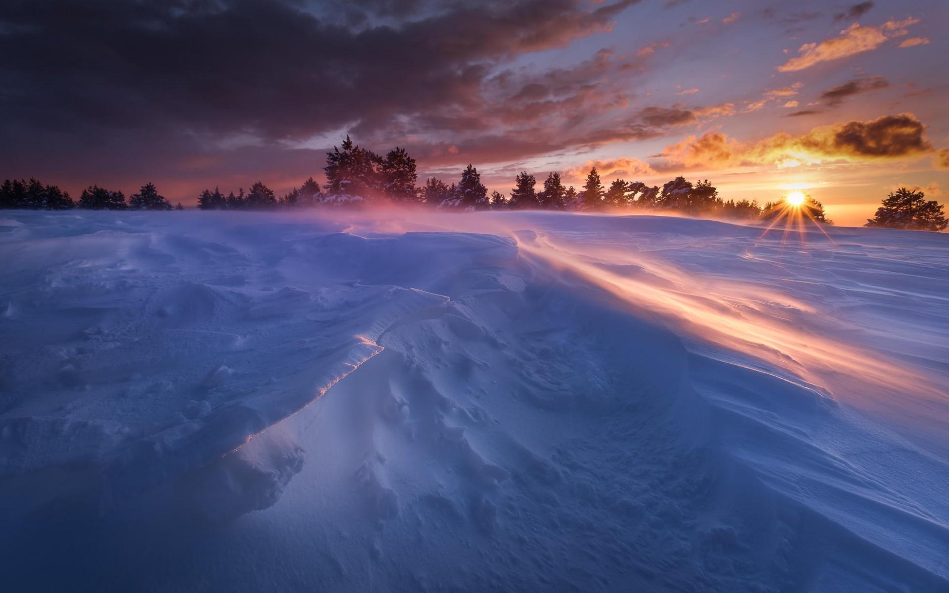 картинки зимний закат мерцающие