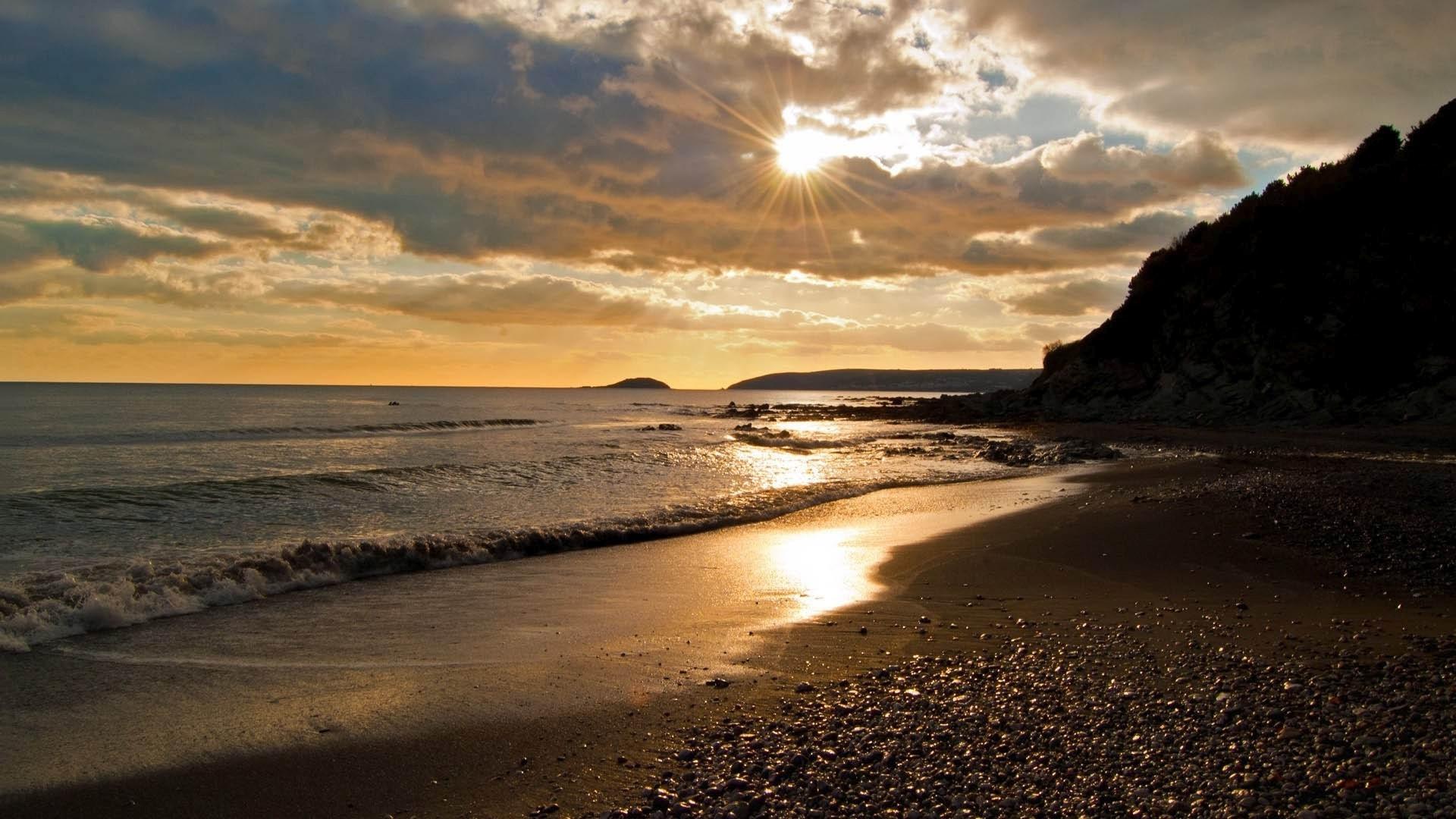 Картинка море закат песок