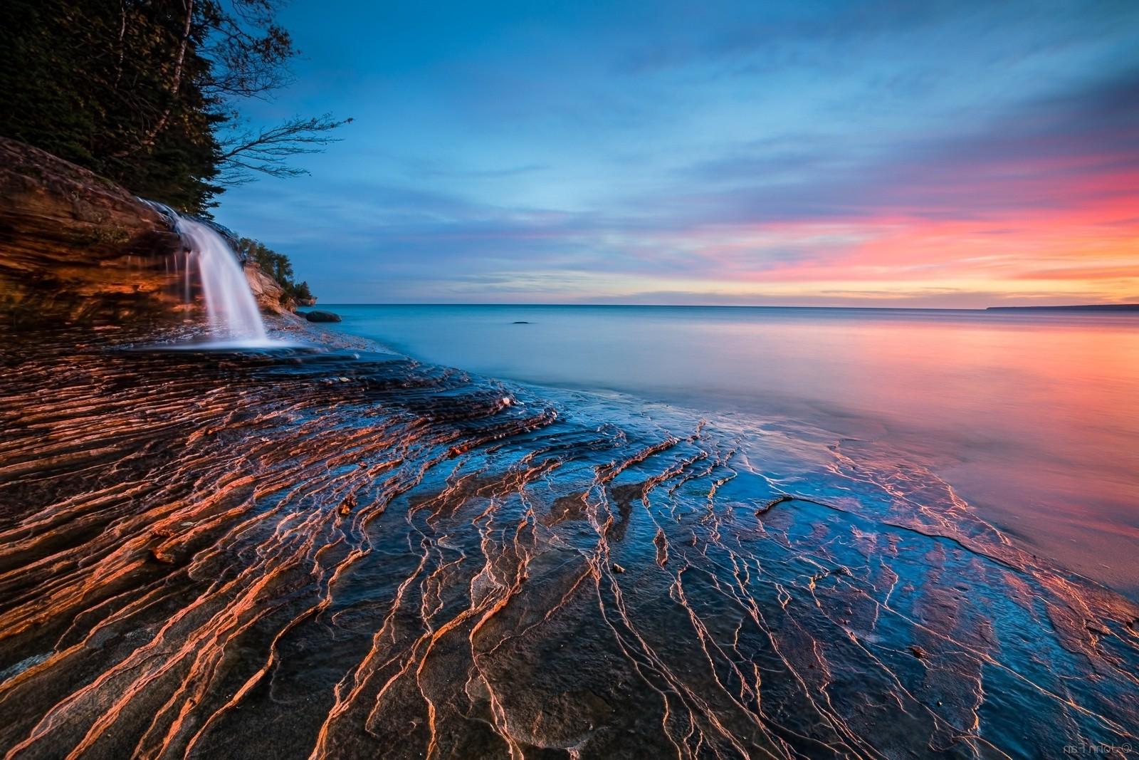 Free Images 4k Wallpaper Beach Calm Cliff Clouds Hd: Wallpaper : Sunlight, Landscape, Waterfall, Sunset, Sea