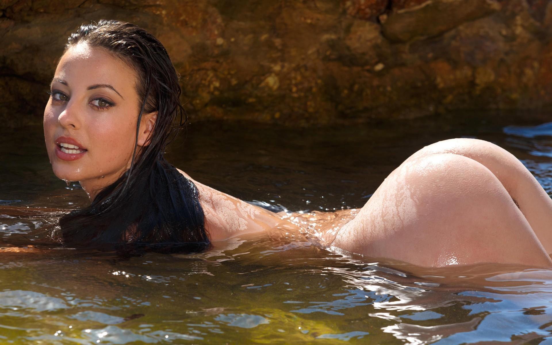 Wallpaper  Sunlight, Model, Water, Dark Hair, Bathing -8147