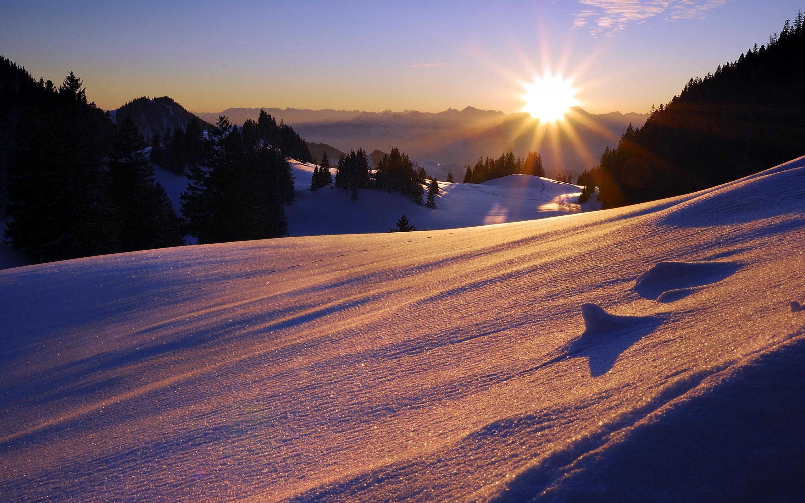 можно встретить фото солнце в снежных горах первой