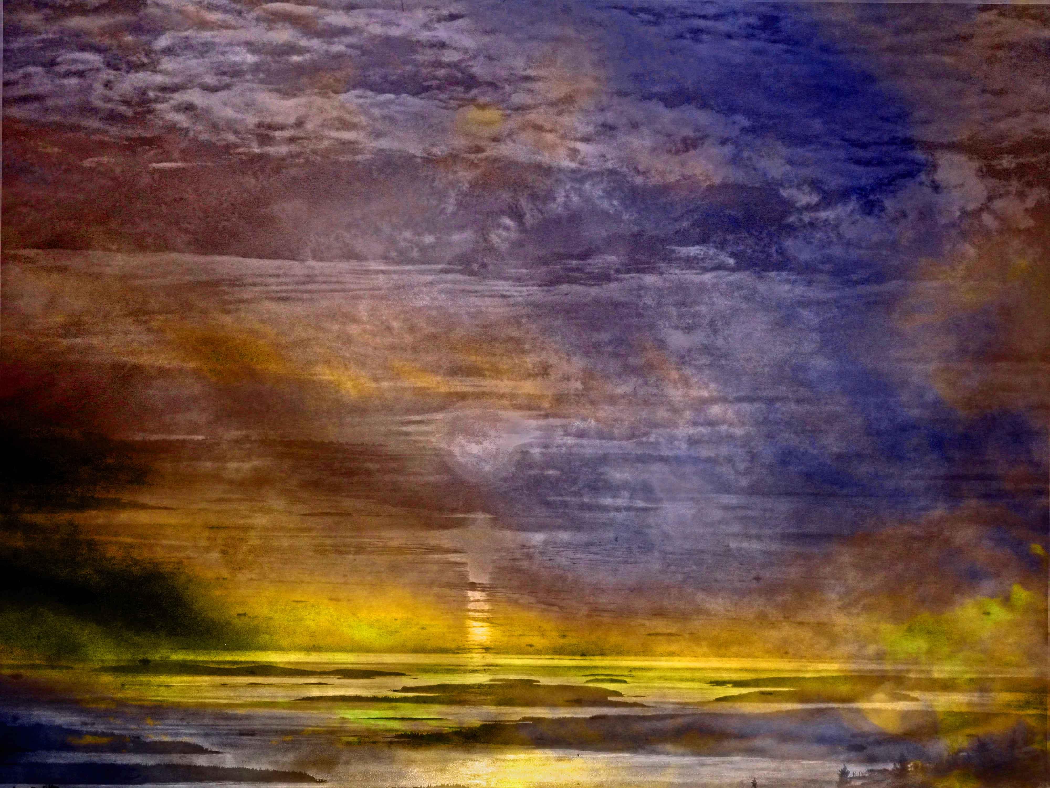 Masaüstü Güneş ışığı Boyama Gün Batımı Deniz Defne Yansıma