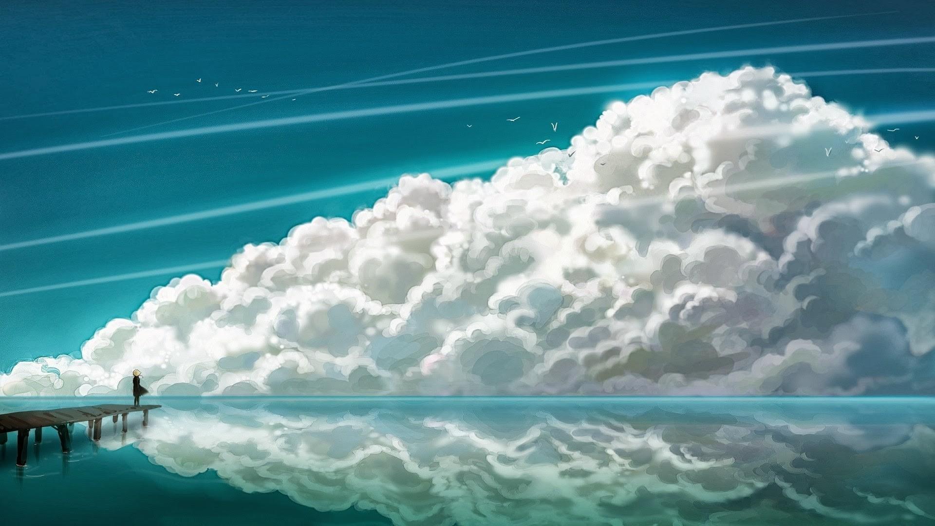 Wallpaper Sinar Matahari Laut Anime Danau Air