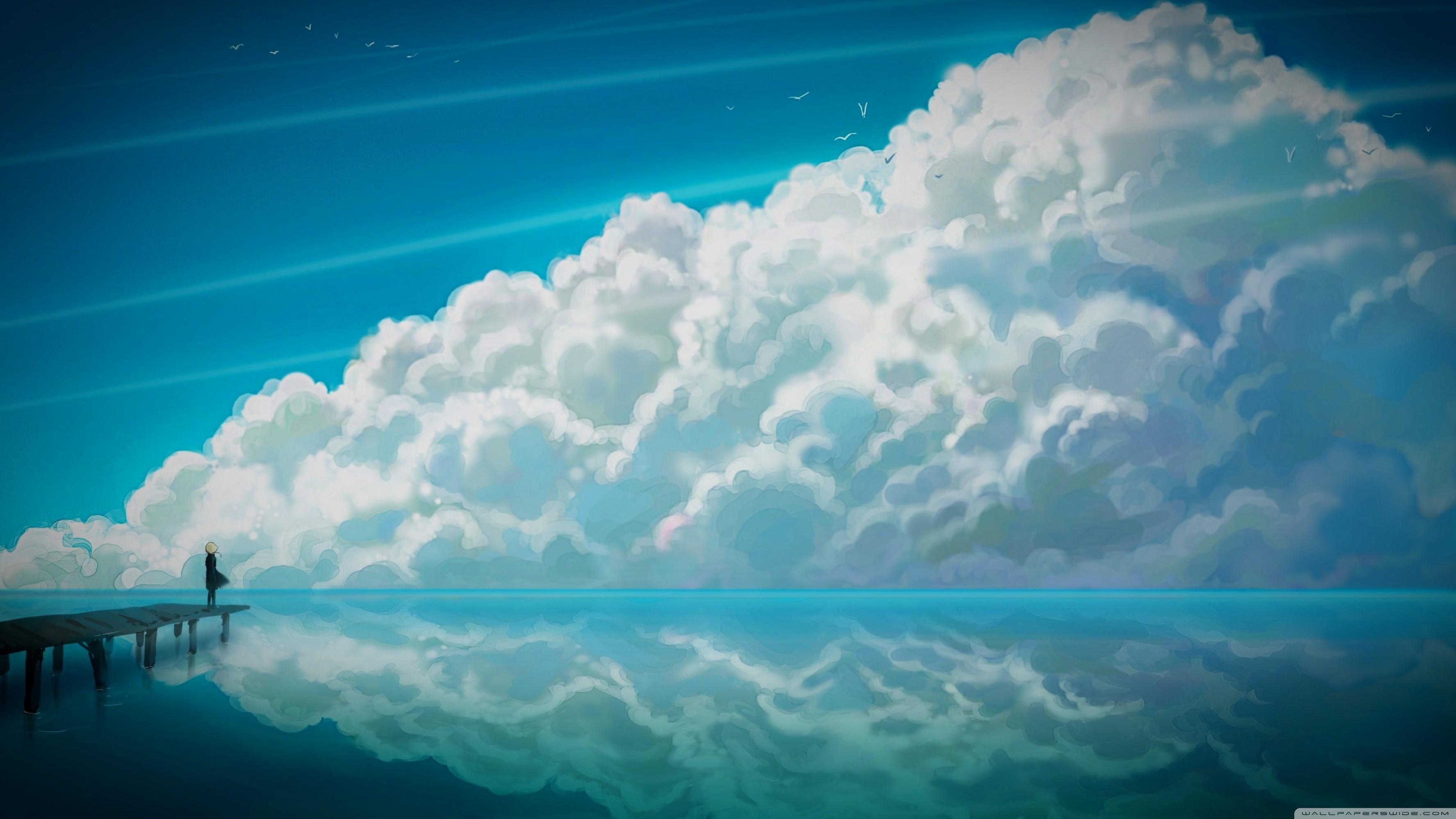 Wallpaper sunlight sea anime reflection sky clouds - Anime sky background ...