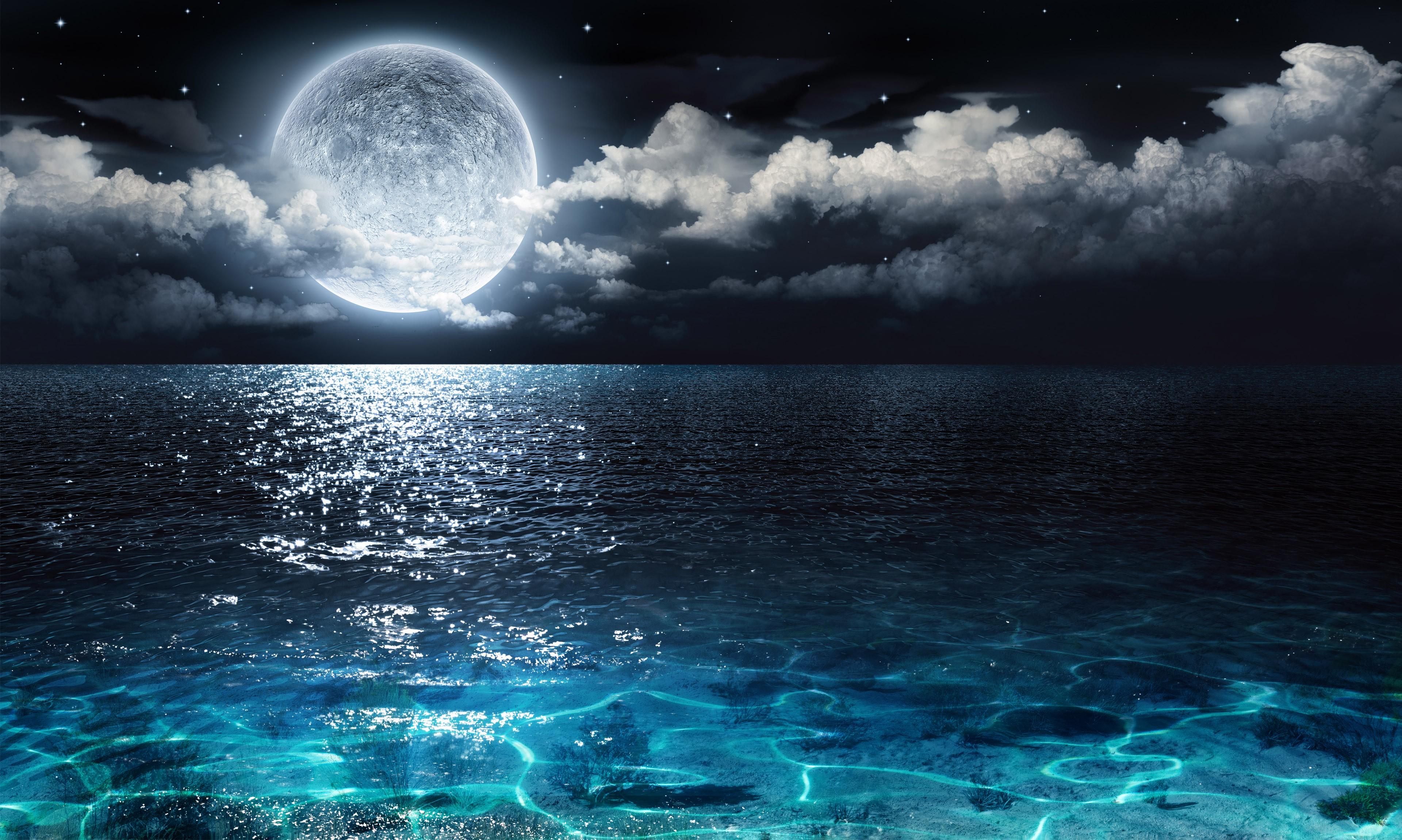 Papel De Parede Luz Solar Mar Noite Reflexao Ceu Lua Luar