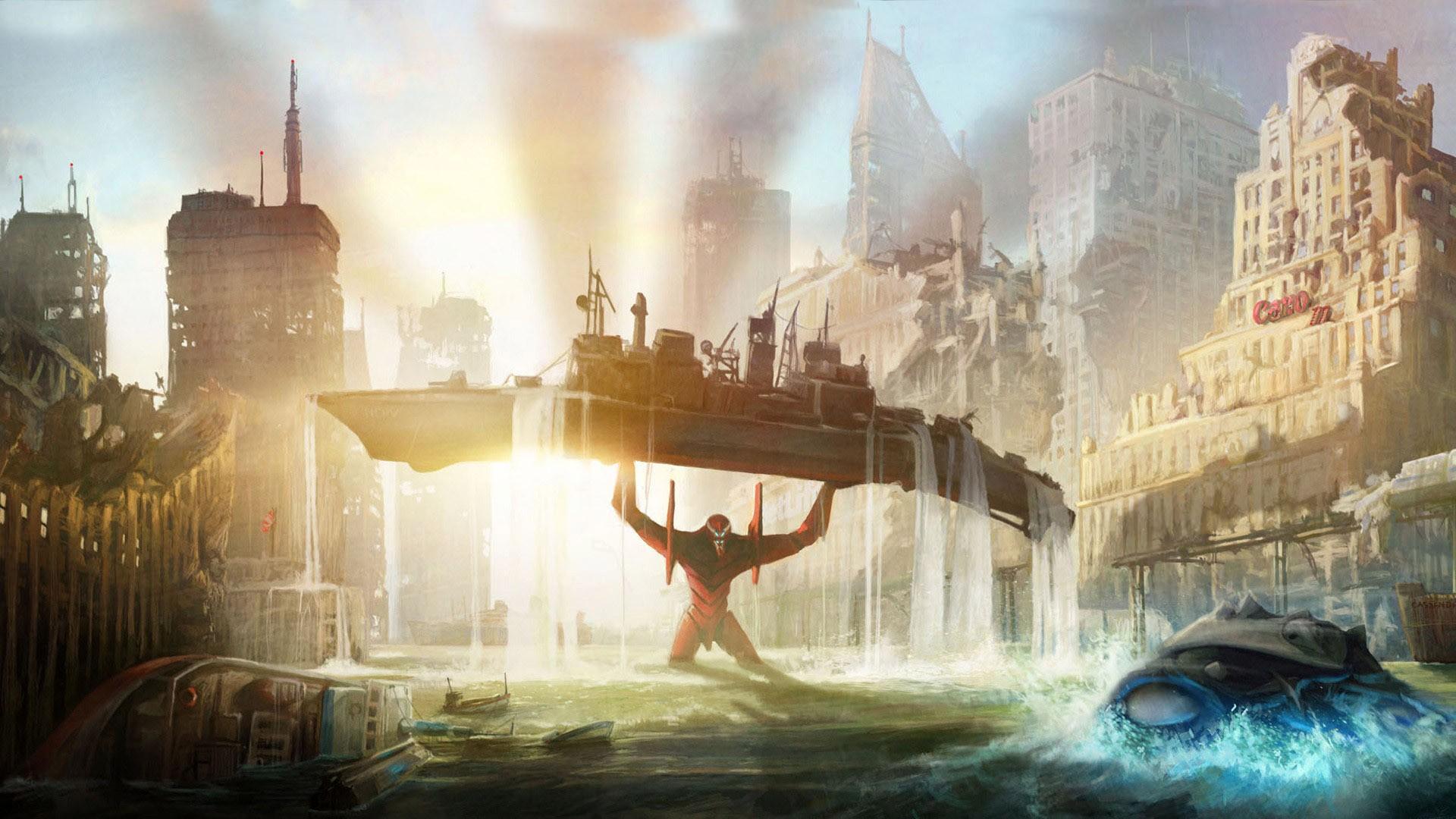 Sunlight Ship Boat City Cityscape Anime Creature Robot Water Neon Genesis Evangelion EVA Unit 02 Destruction