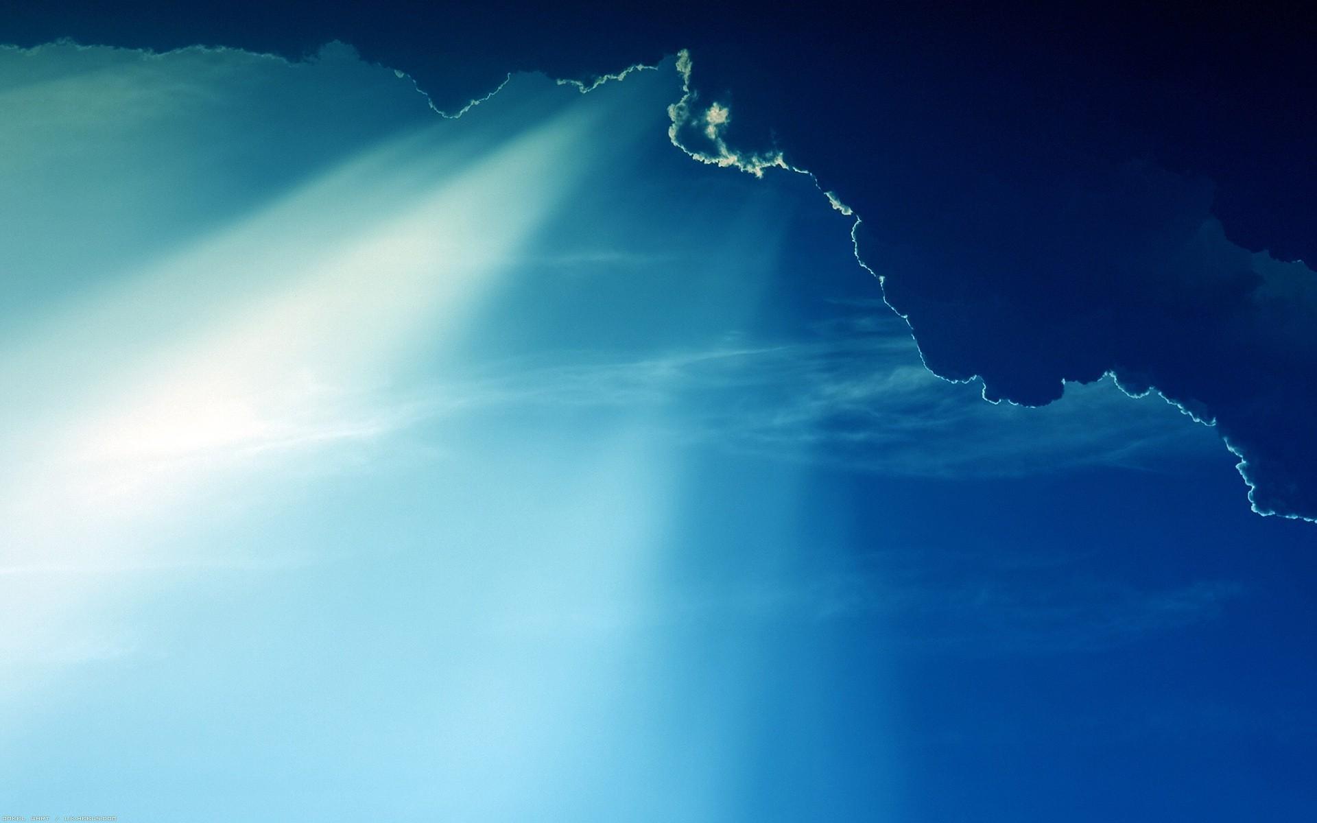 Wallpaper Sunlight Sky Clouds Blue Sun Rays Horizon