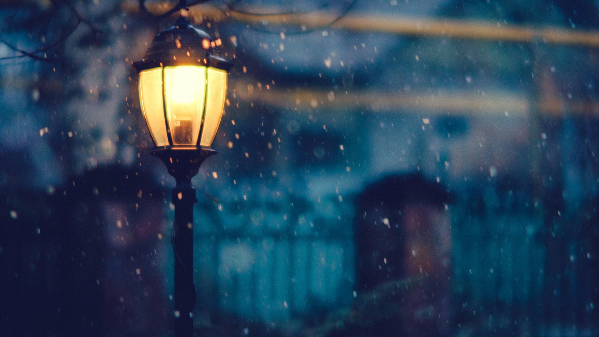 Sunlight Street Light Night Urban Reflection Snow Winter Lantern Blue Blurred Atmosphere Snowflakes Emotion Lighting