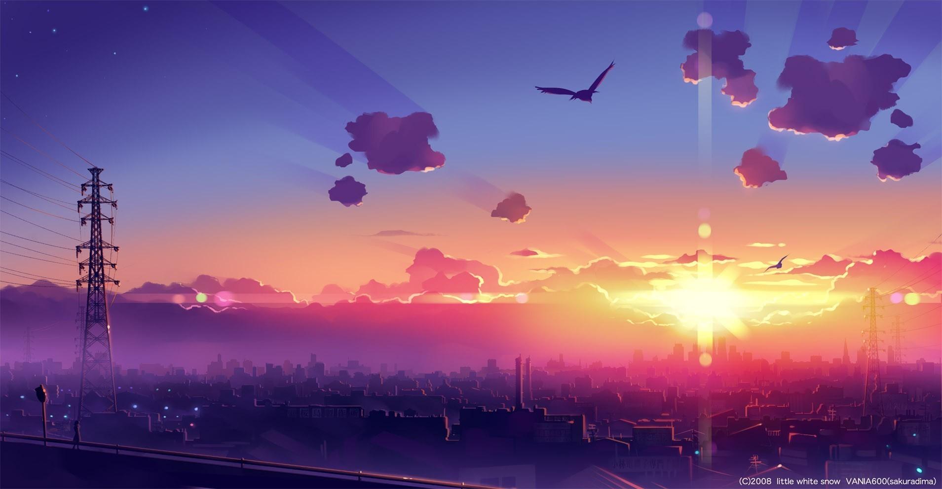 Sunlight Sunset Architecture Anime Building Reflection Sky Artwork Sunrise Manga Evening Morning Horizon Atmosphere Dusk Dawn