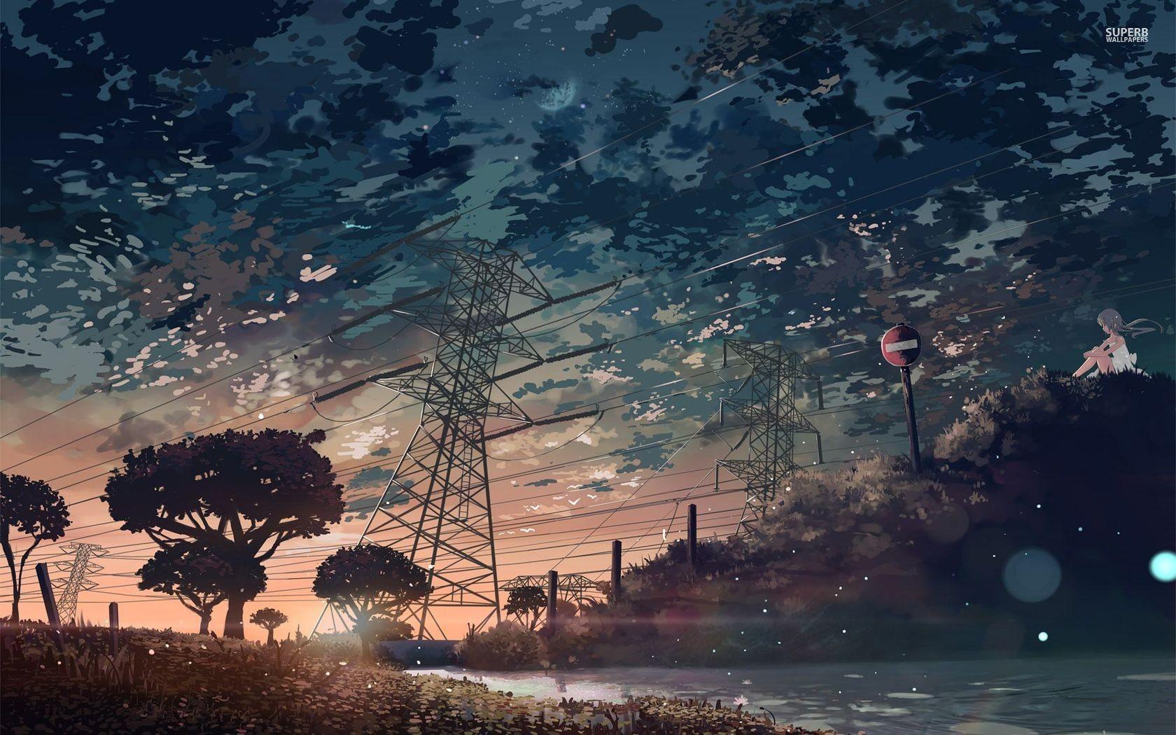 Wallpaper Sunlight Sunset Cityscape Night Anime Reflection Sky Artwork Clouds Sunrise Manga Sign Evening Morning Moonlight Horizon Dusk