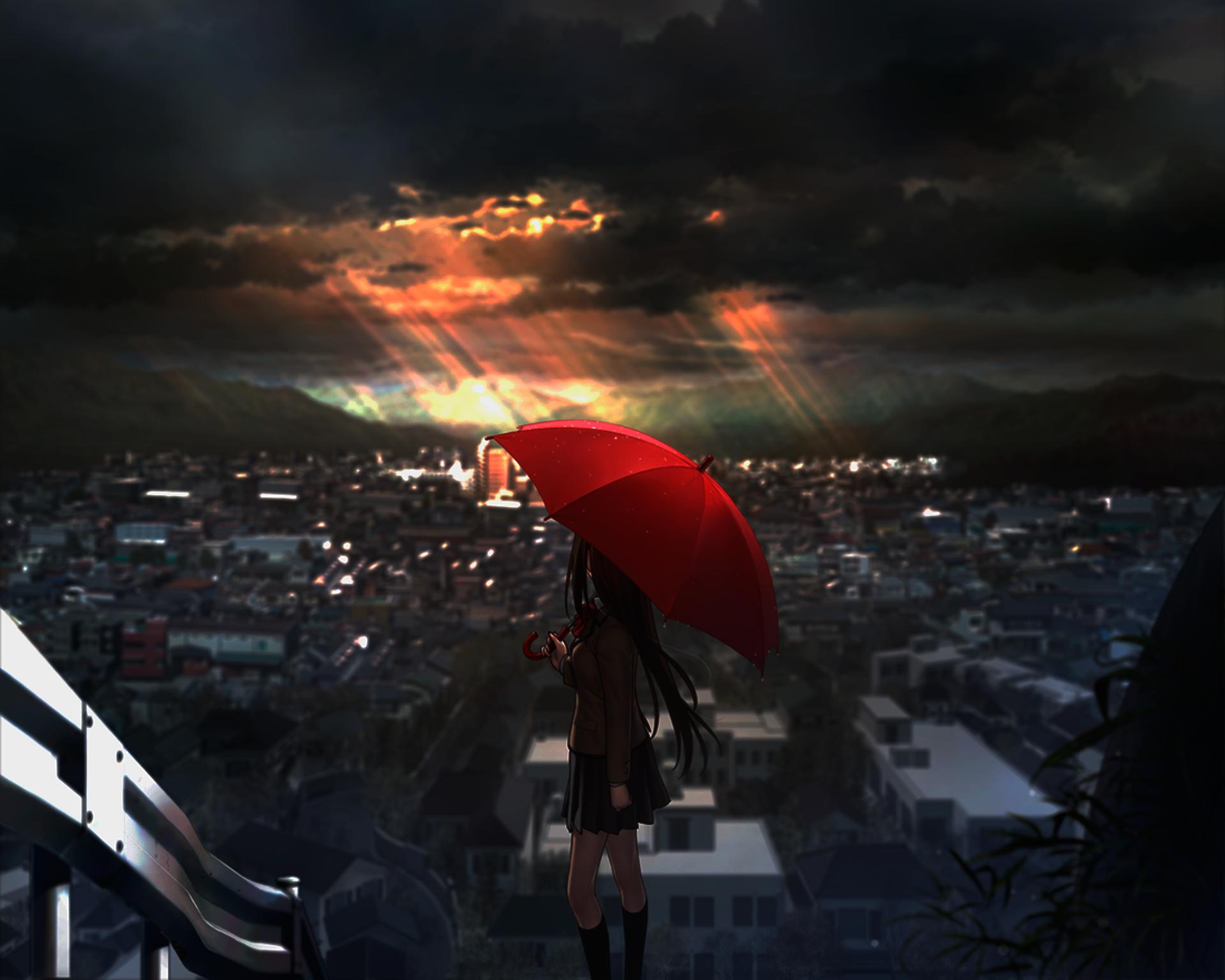 Wallpaper Sunlight Sunset Night Anime Girls Sky Evening