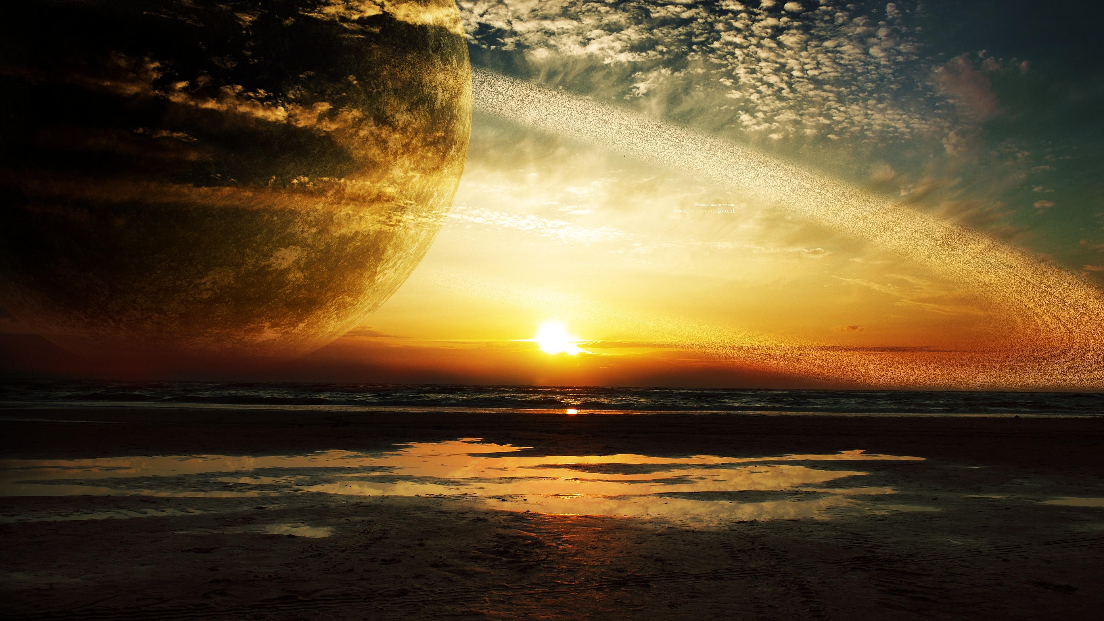 Wallpaper sunlight sunset sea planet reflection sky beach sunlight sunset sea planet reflection sky beach rings sunrise evening morning coast sun horizon atmosphere dusk altavistaventures Images