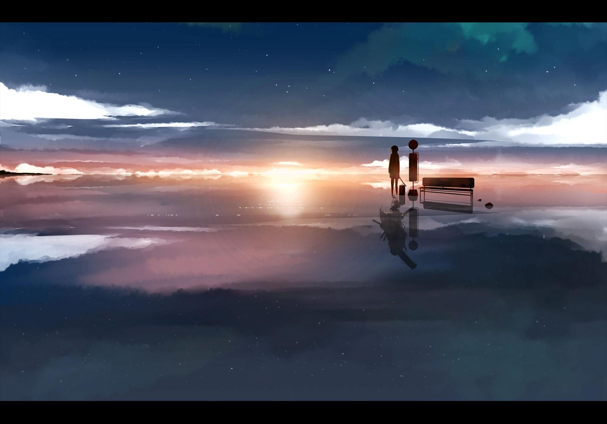 Sunlight Sunset Sea Reflection Sky Sunrise Manga Evening Morning Sun Horizon Atmosphere Dusk Cloud Dawn Ocean