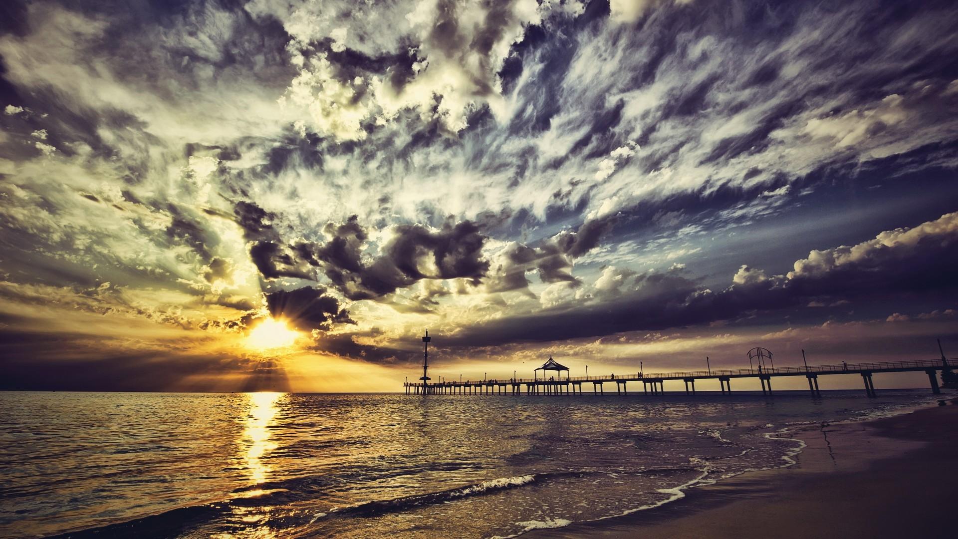 デスクトップ壁紙 日光 日没 海岸 反射 空 ビーチ 日の出