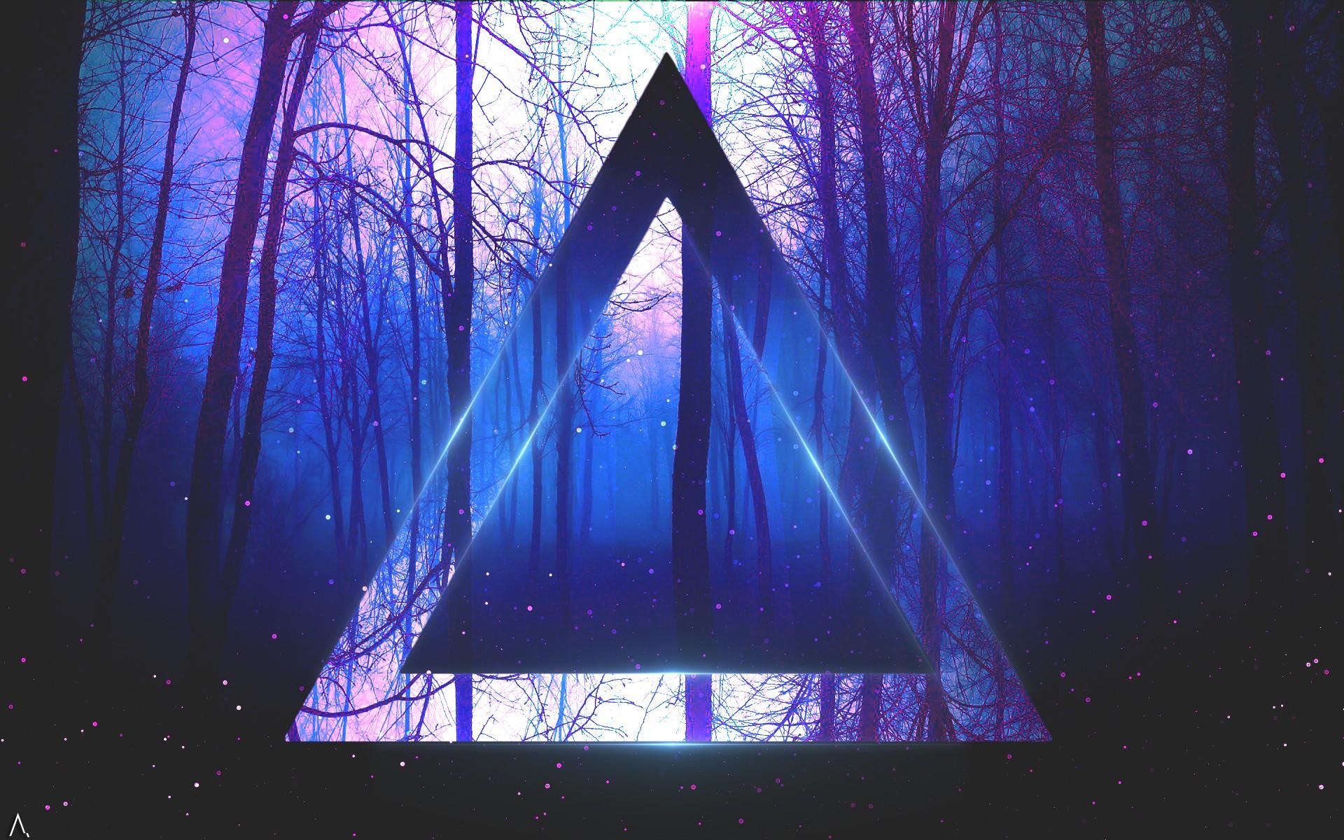 Sunlight Trees Digital Art Night Abstract Reflection Artwork Blue Triangle Atmosphere Light Star Darkness Screenshot Computer