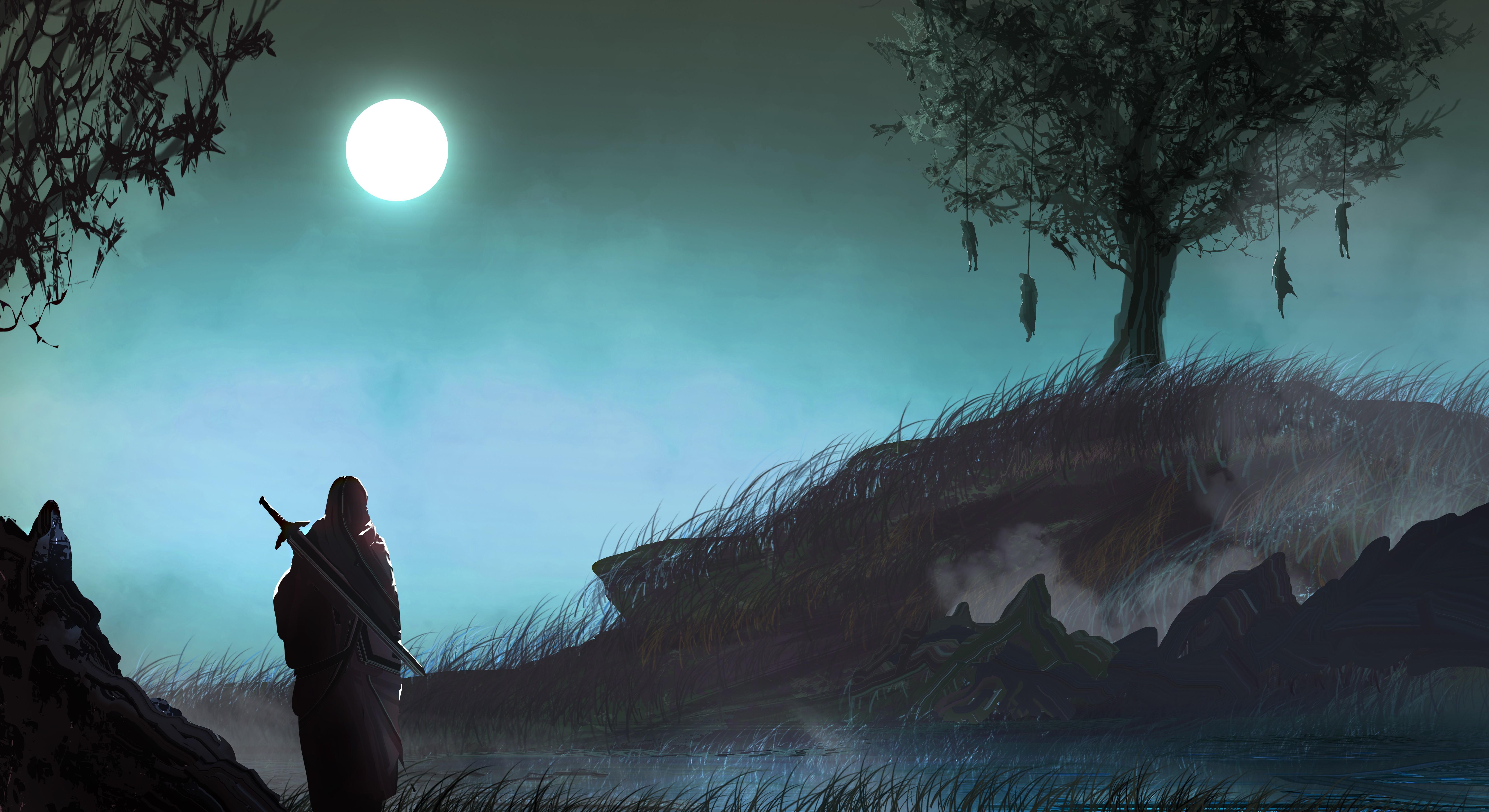 Sunlight Trees Fantasy Art Night Nature Grass Moon Morning Mist Sword Warrior Moonlight Loneliness Light Fog