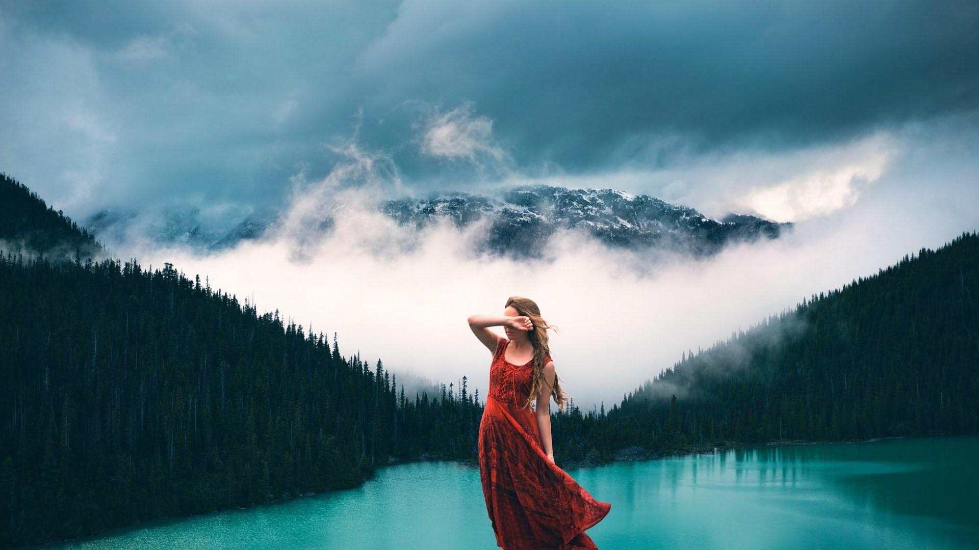 Wallpaper : face, sunlight, trees, mountains, women