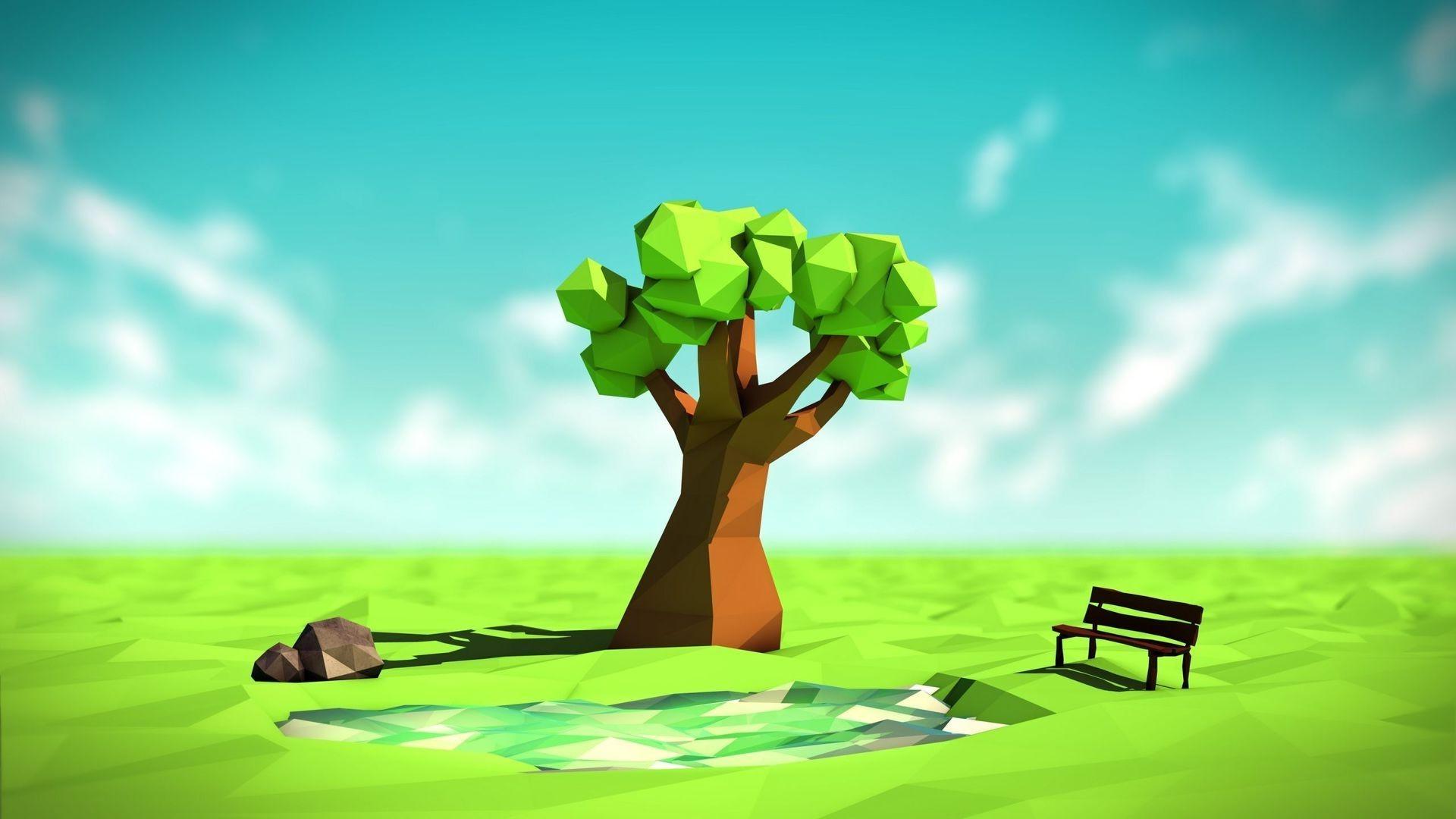 trees, illustration, digital art