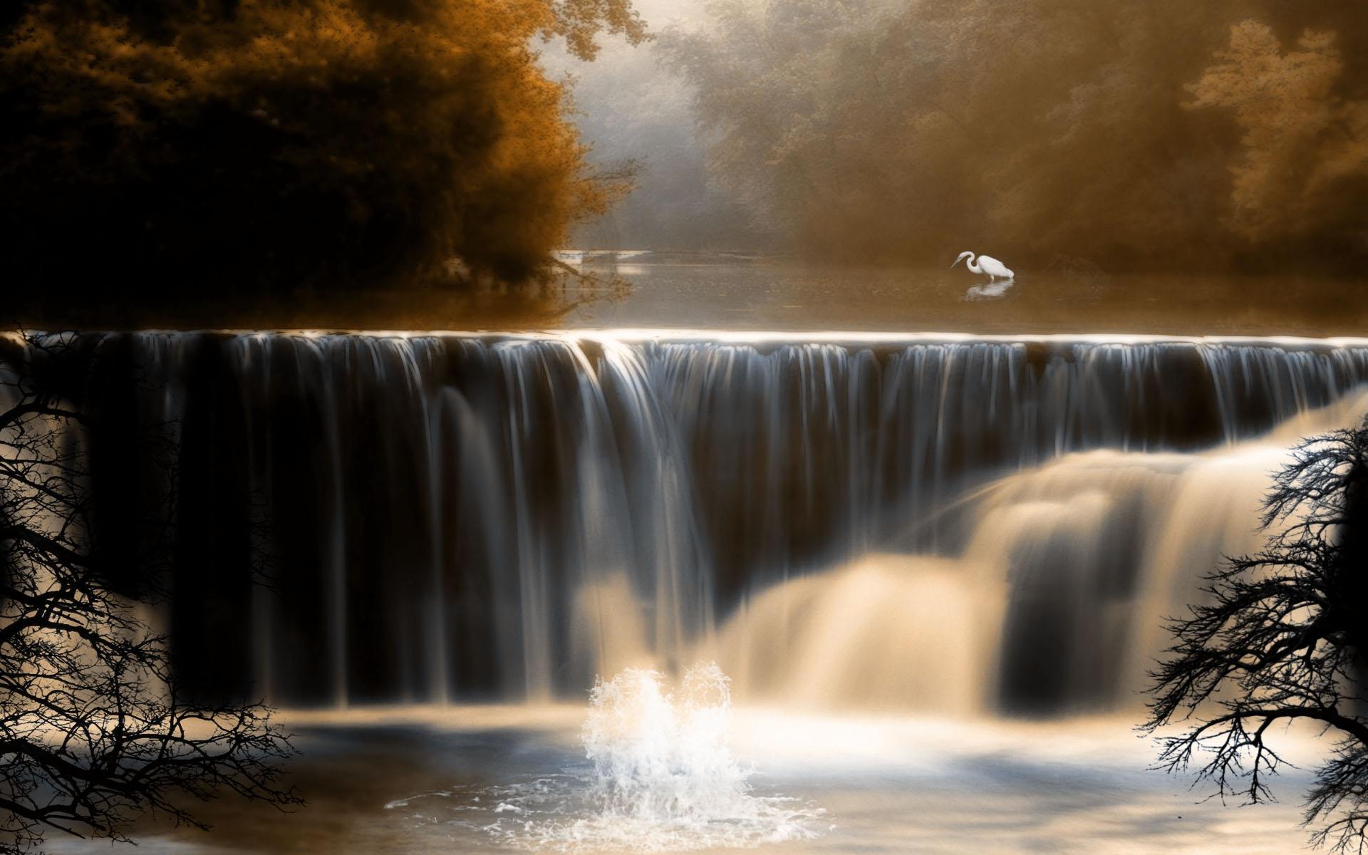 foto de Fond d'écran : lumière du soleil, des arbres, paysage, cascade ...