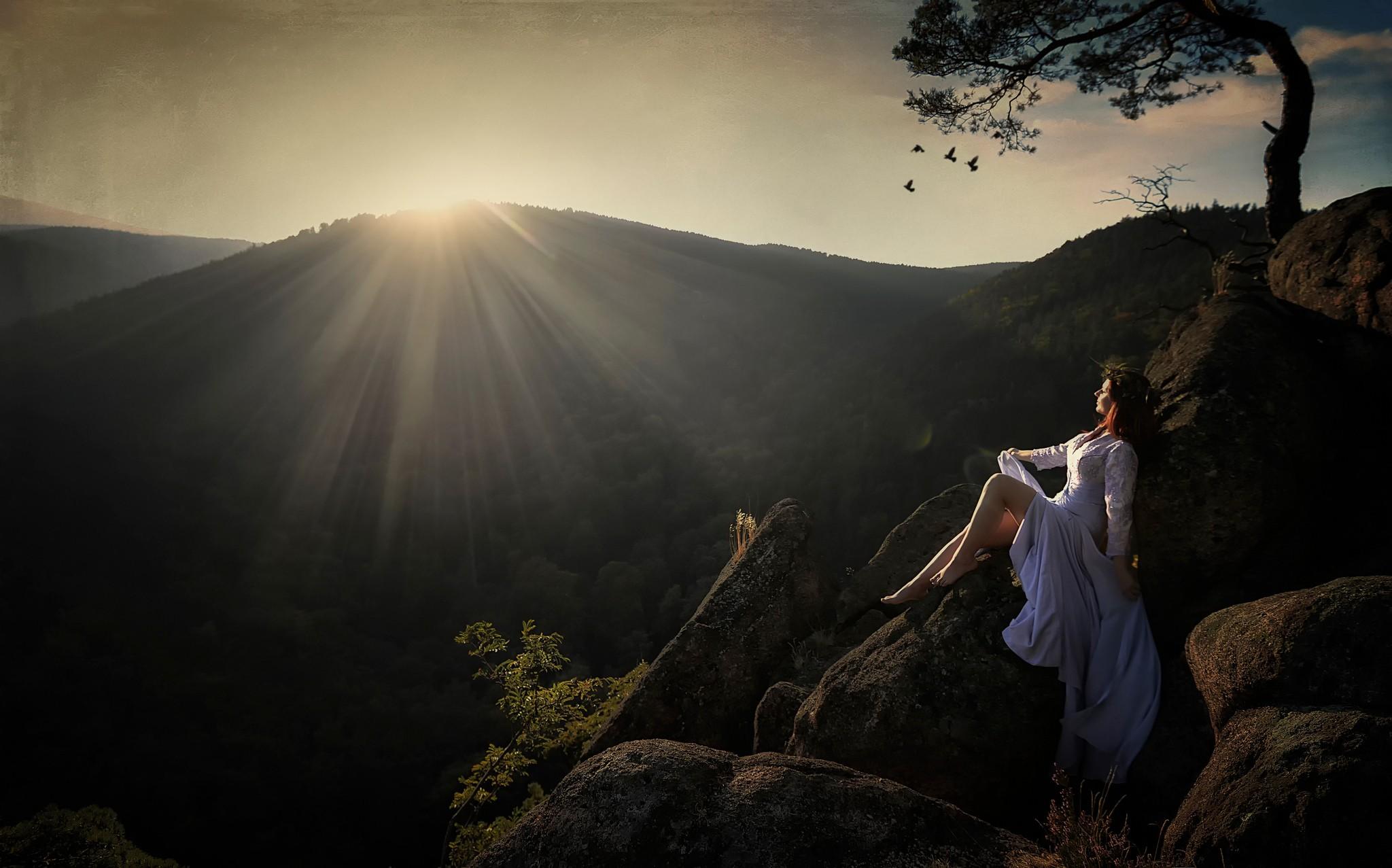Wallpaper : sunlight, mountains, women outdoors, redhead