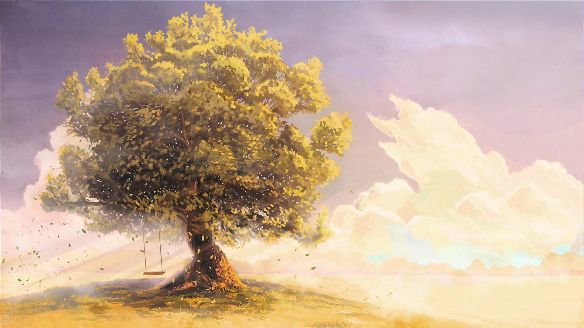 Masaüstü Güneş ışığı Ağaçlar Boyama Fantezi Sanatı Gökyüzü