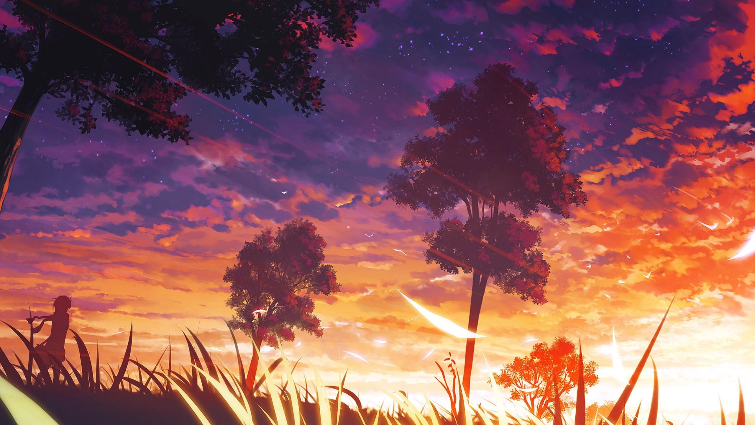 Wallpaper sunlight trees sunset anime sky sunrise - Anime sky background ...